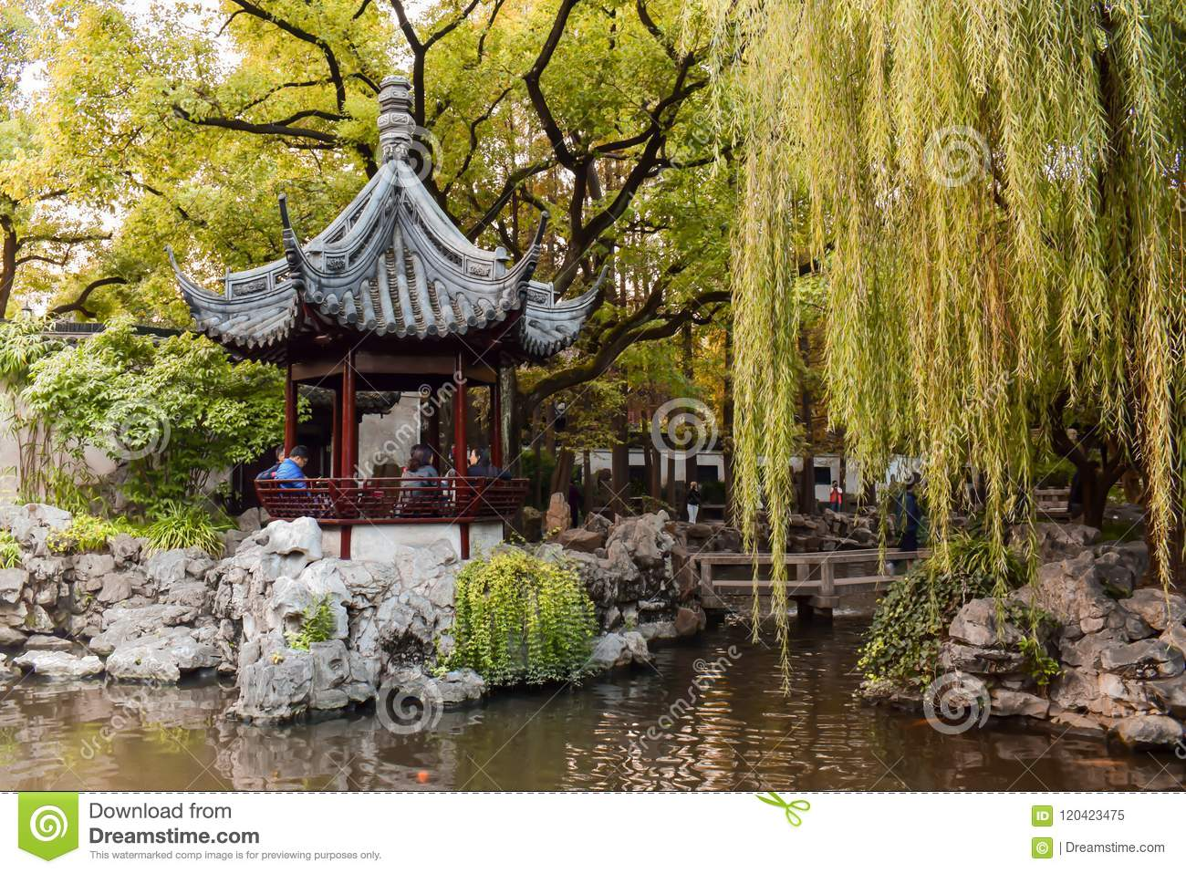Wooden pavilion in the Yu Garden in Shanghai China