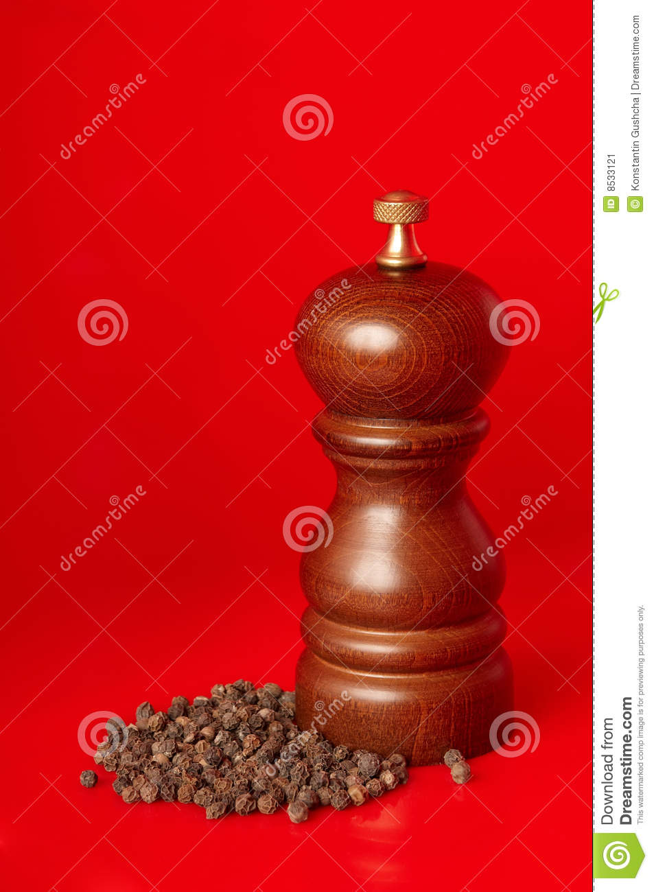 Wooden pepper mill with black peppercorn stock image for Pepper mill plans