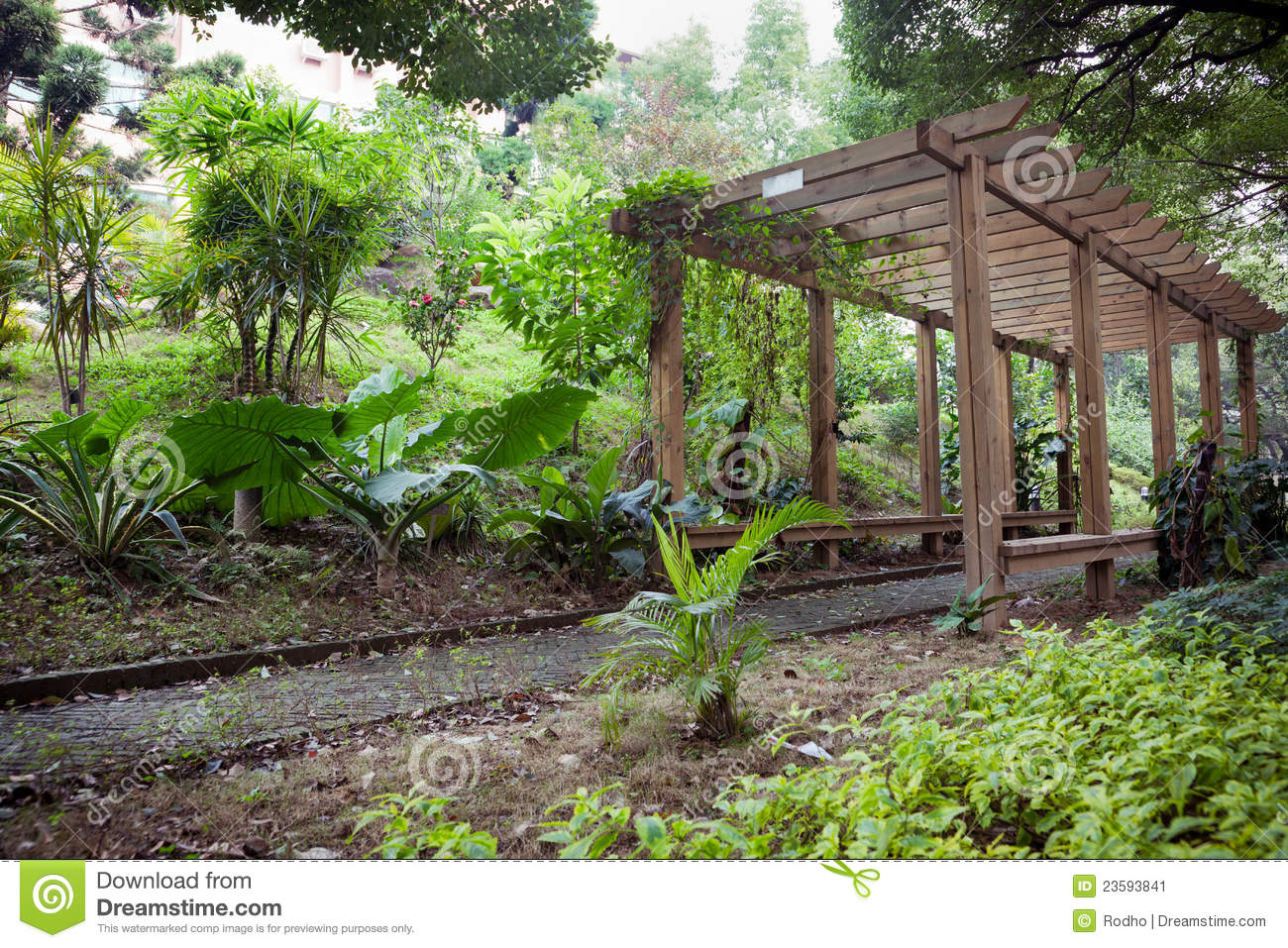 Wooden Pergola In Park Stock Image Image Of Landscaping
