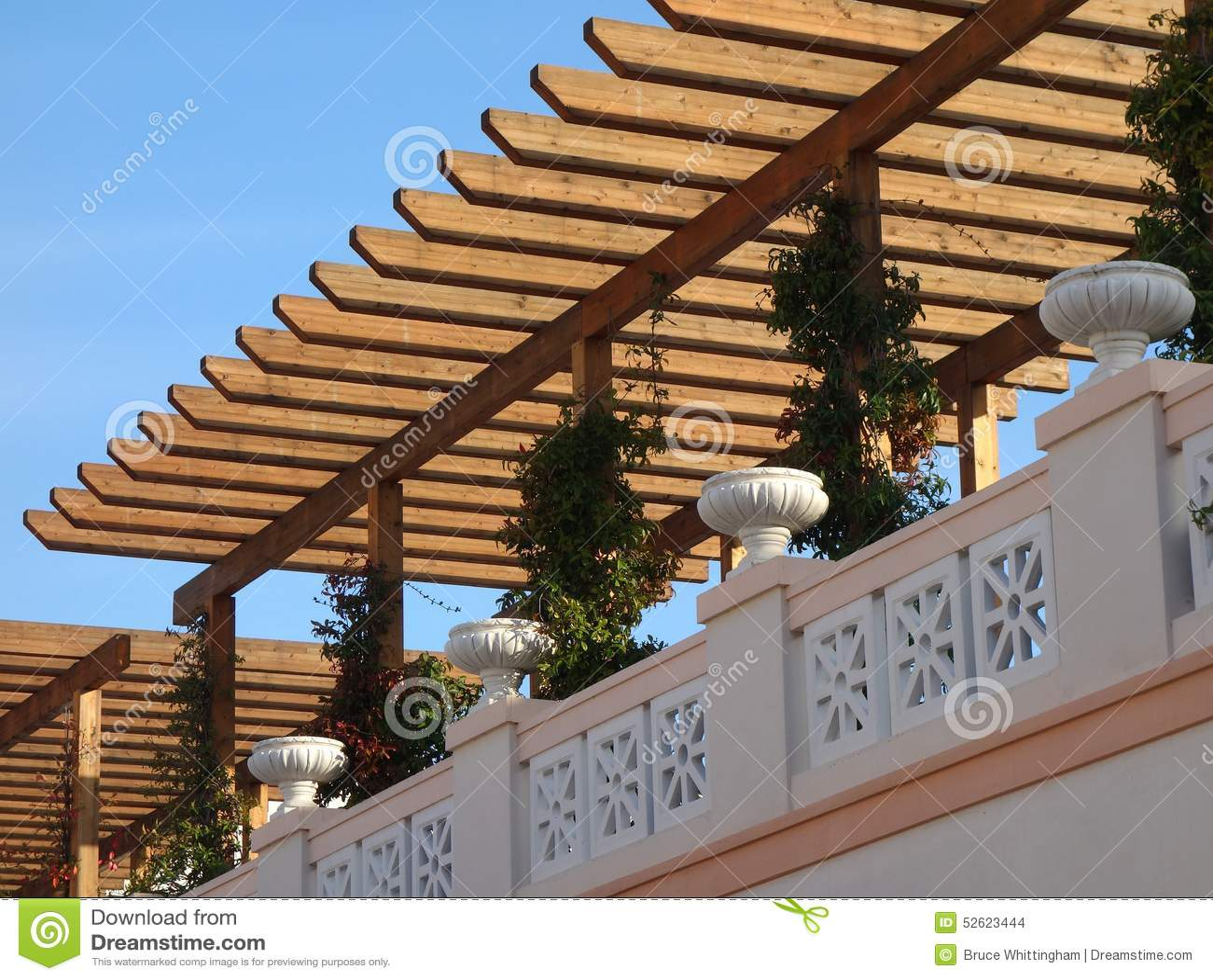Wooden pergola stock photo image 52623444 for Terrace pergola