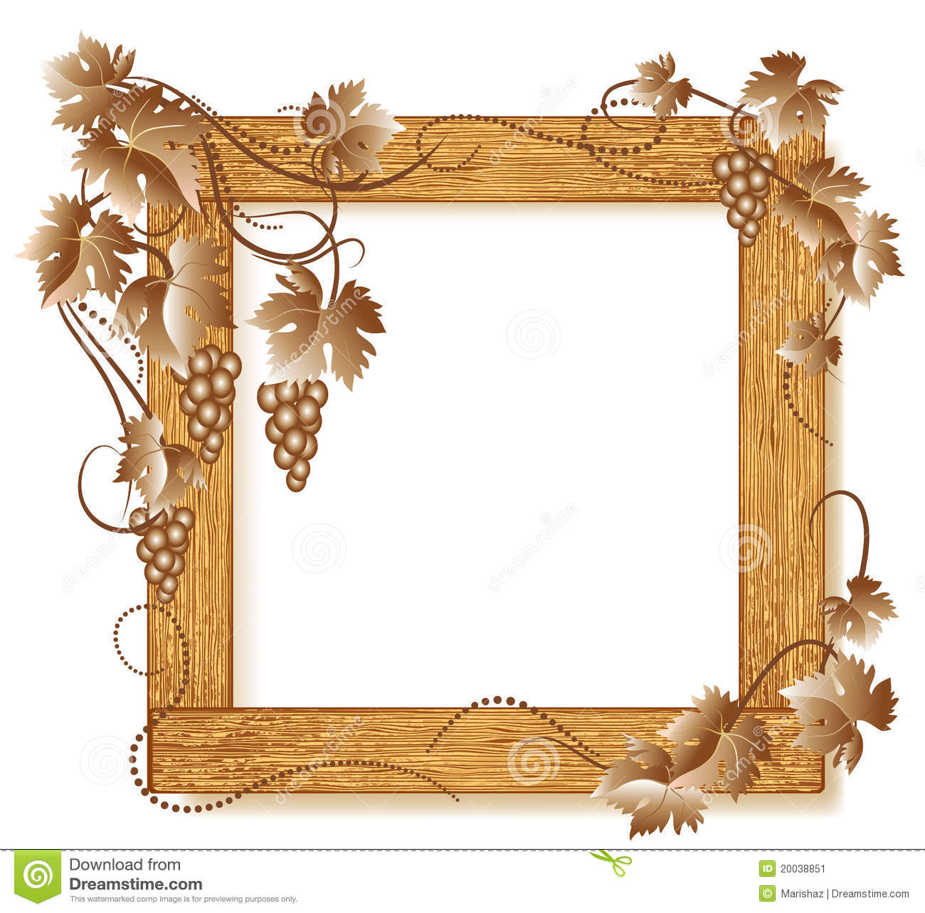 Wooden photo frames with grapes