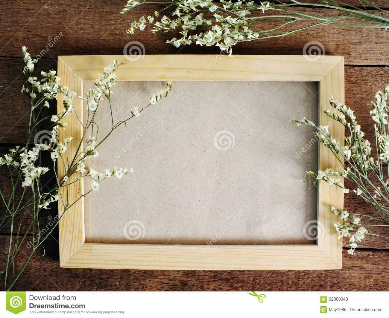 Wooden Photo Frames Space Background Decorate With Dried Flowers ...
