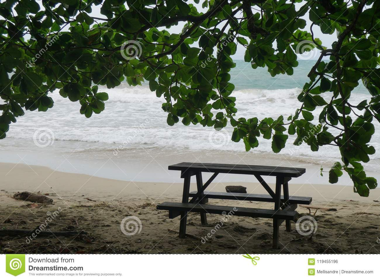 Wooden Picnic Branch On The Sand Beach Placed In Shade Under Huge - Huge picnic table