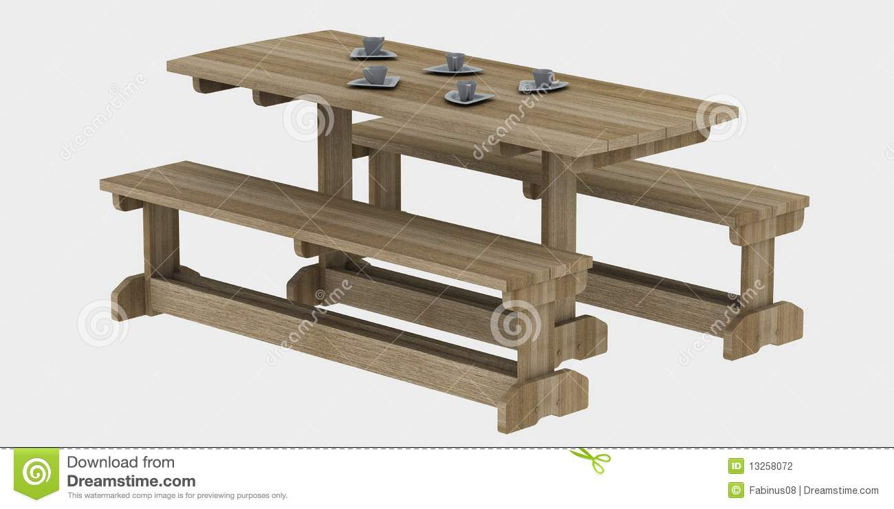 Three dimensional illustration of wooden picnic table with benches ...