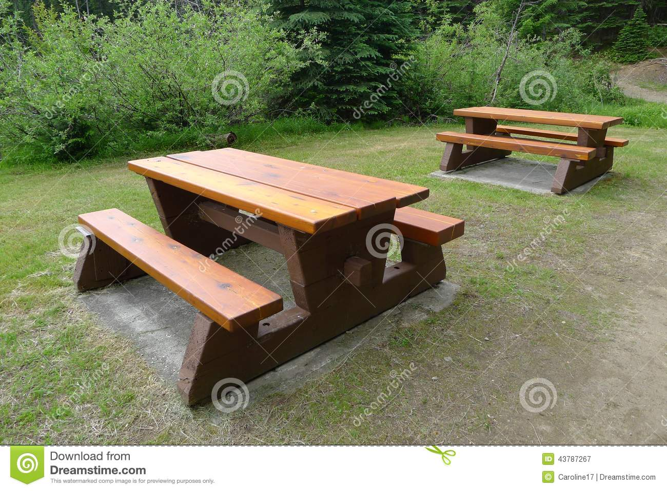 Wooden Picnic Tables And Benches Stock Image - Image: 43787267