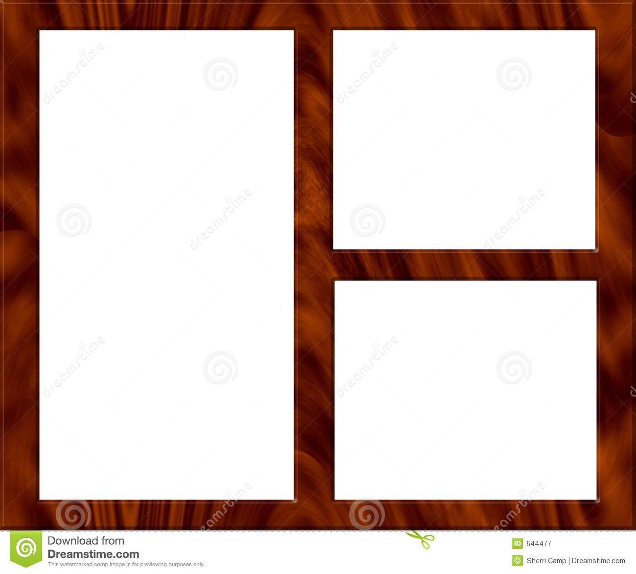 Wooden picture frame empty royalty free stock - Marcos de fotos multiples ...