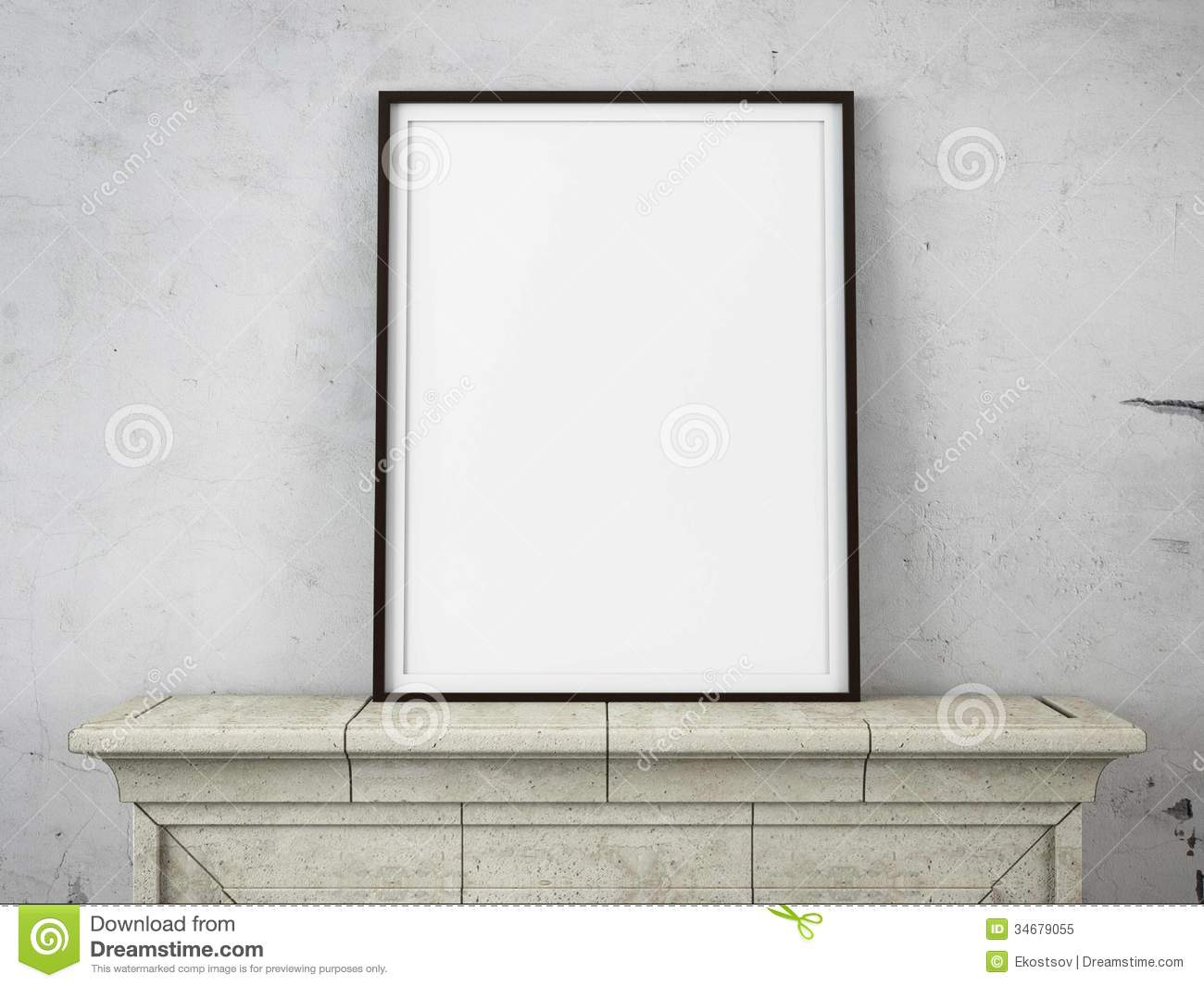 wooden picture frame on a fireplace stock image image 34679055