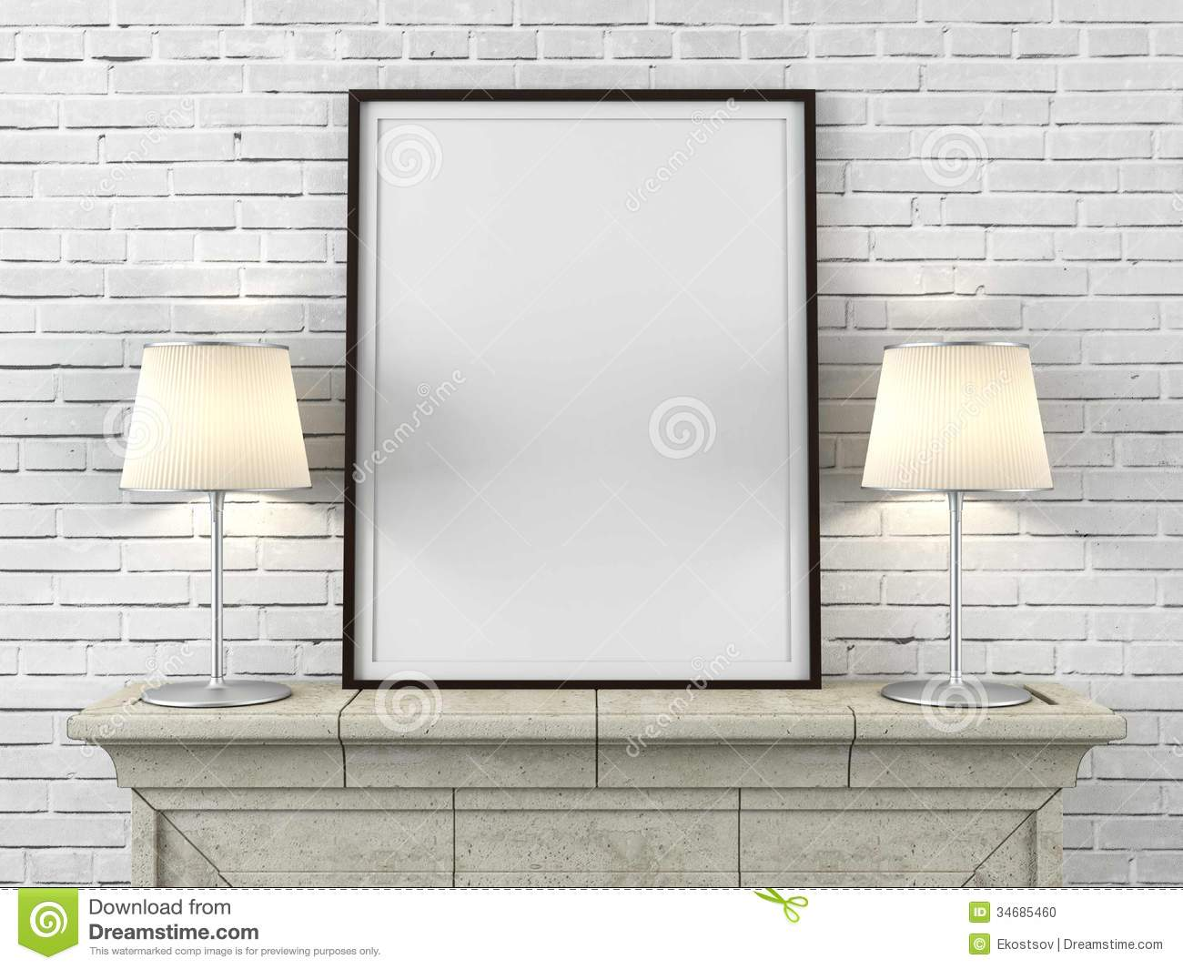 Wooden Picture Frame With Lamps Stock Photo - Image: 34685460