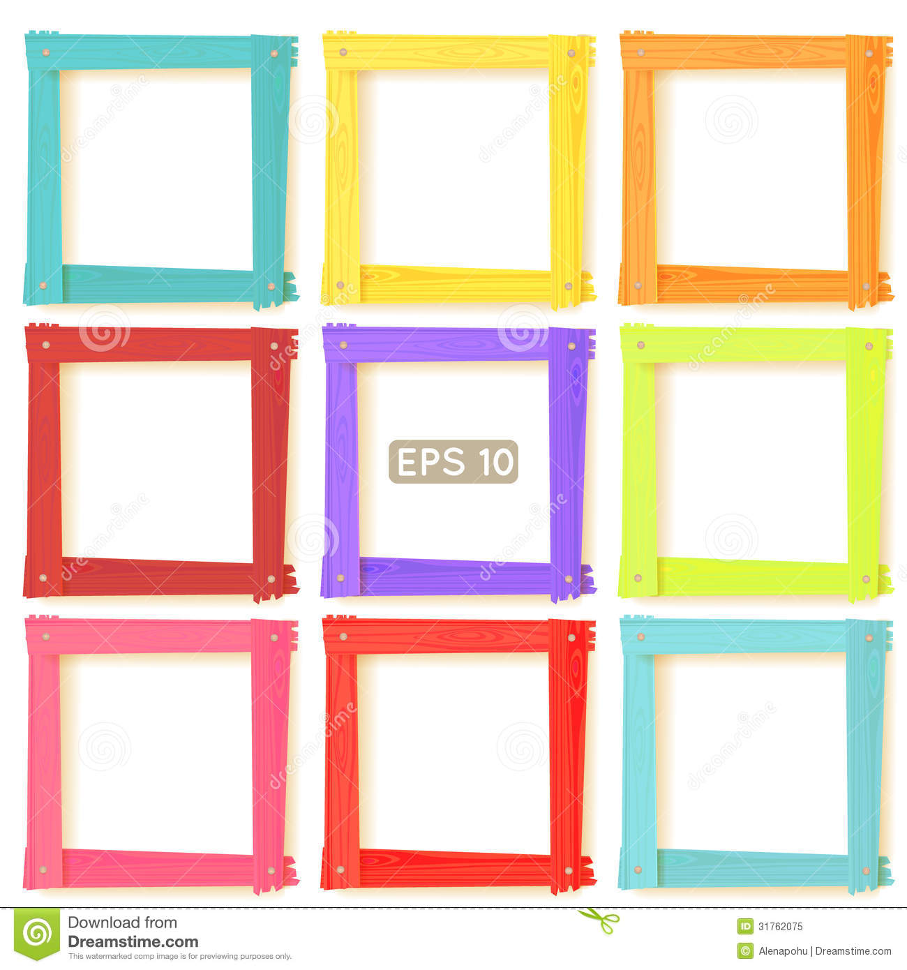9 Wooden Picture Frames Color Set Stock Vector - Illustration of ...