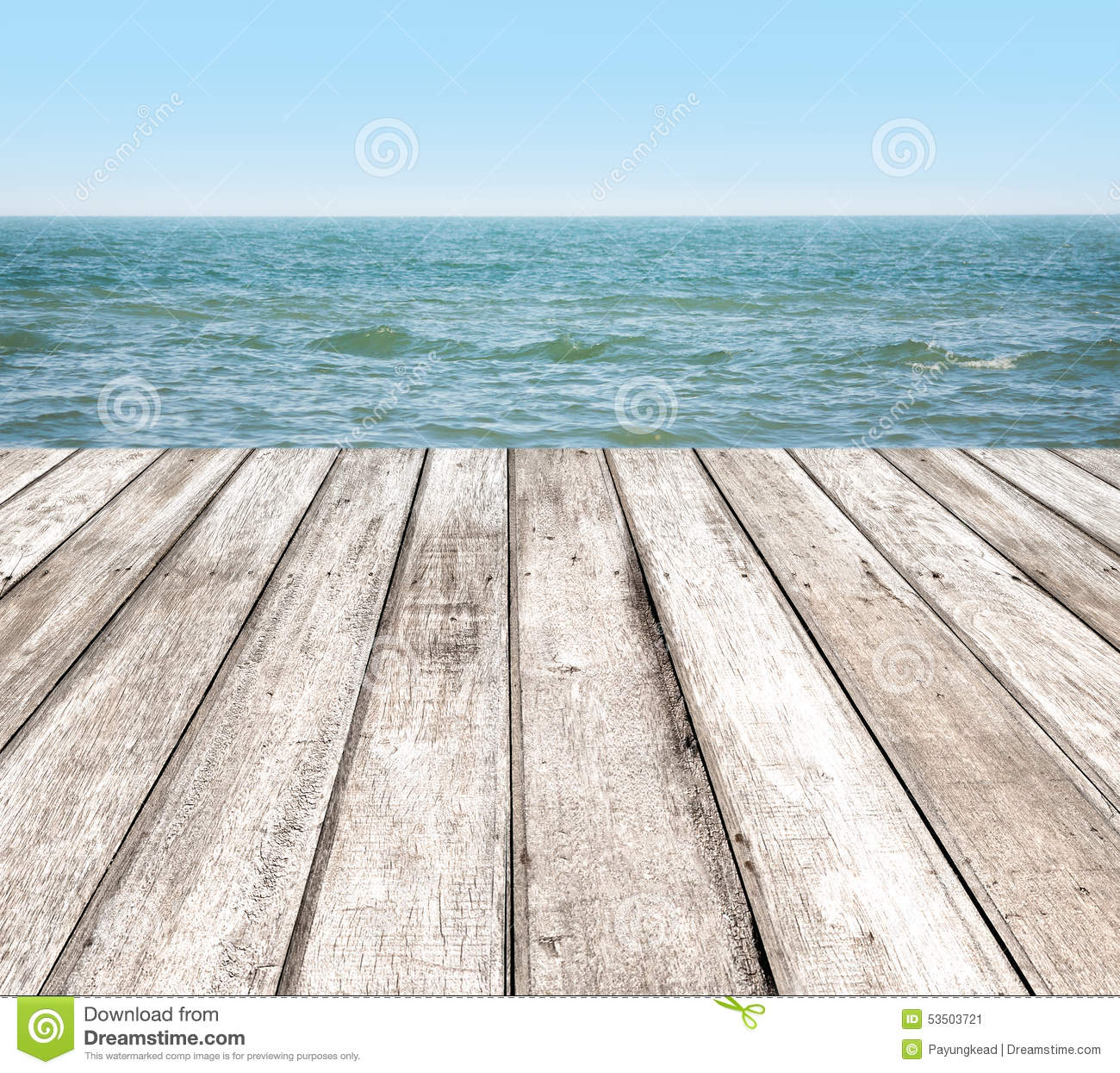 Wood Floor On Beach Sea And Blue Sky For Background Stock: Wooden Pier With Blue Sea Stock Image. Image Of Background