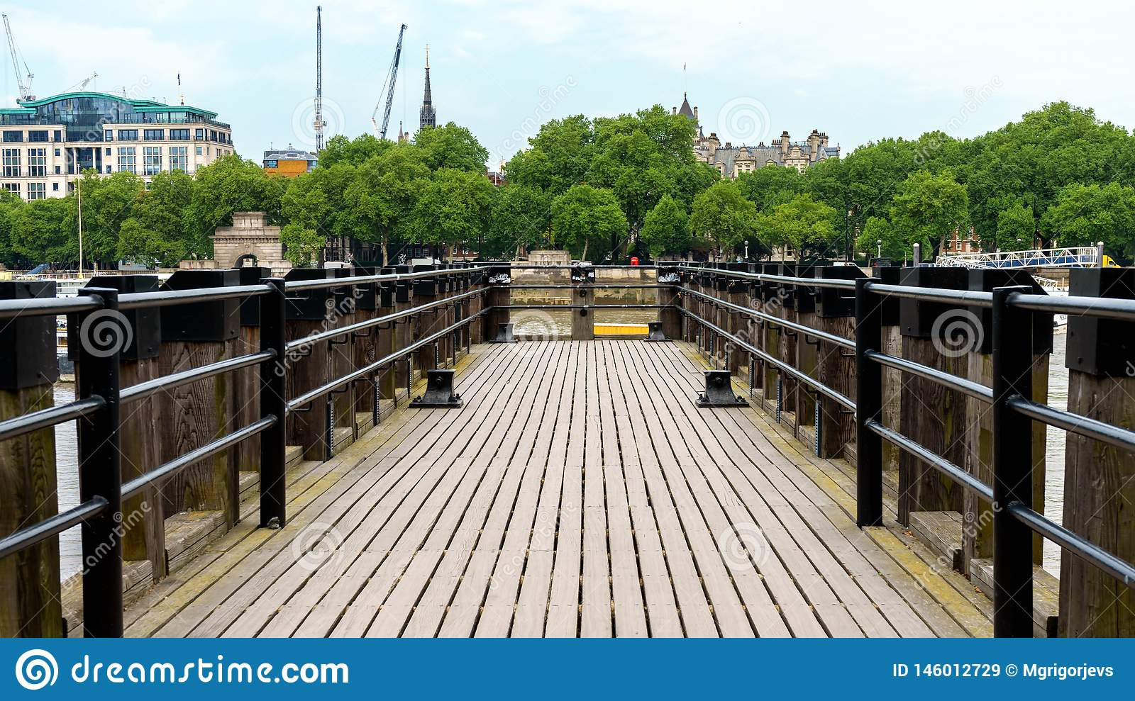 Wooden Pier at River Thames in London
