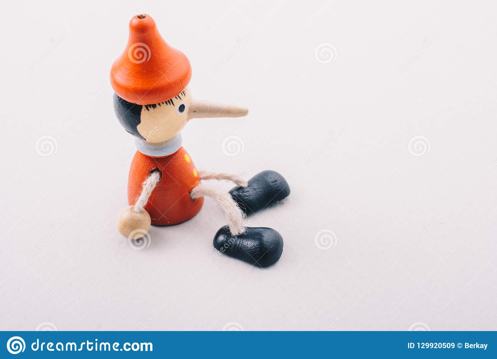 Wooden Pinocchio Doll With His Long Nose Editorial Stock Image