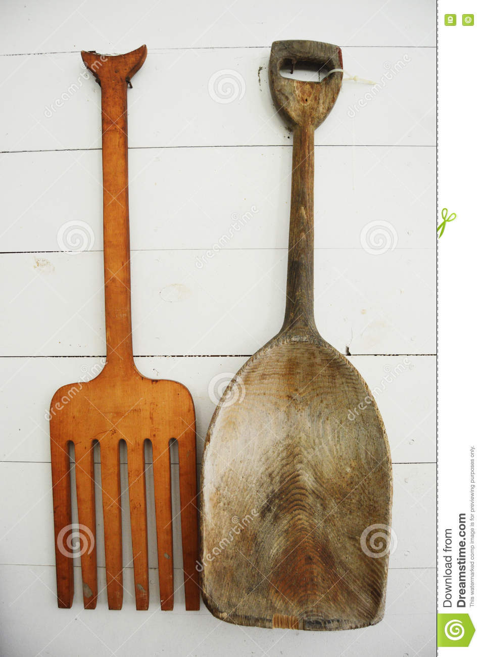 Wooden Pitchfork And Shovel Stock Photo Image Of Tool Antique
