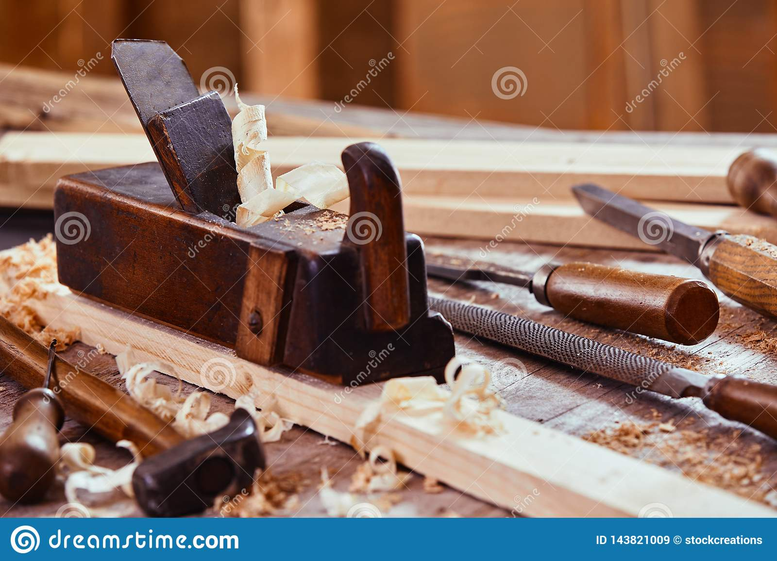 Wooden Plane With Rasp, File, Hammer And Chisels Stock ...