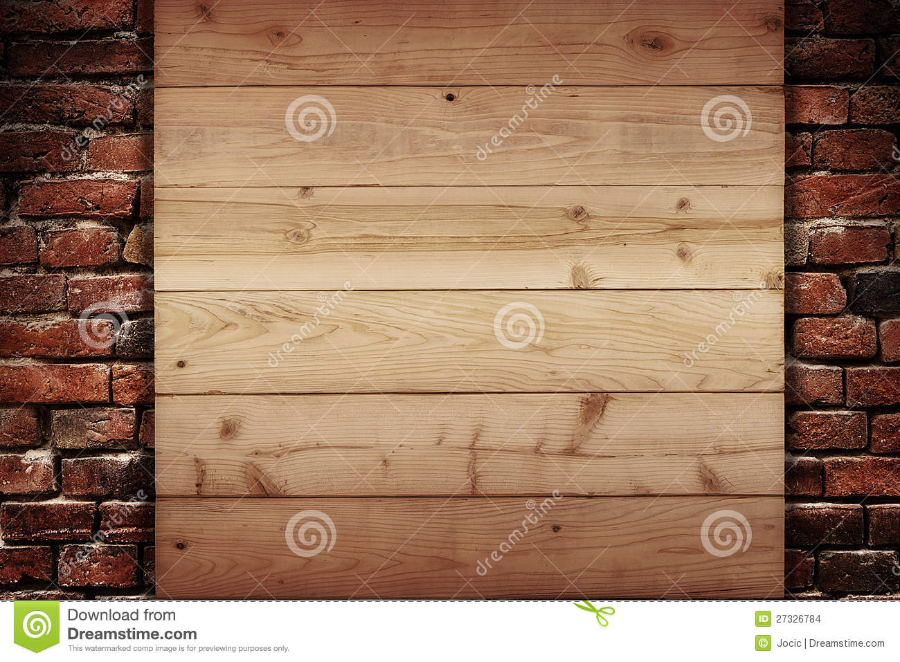 Wooden Plank On A Wall Of Bricks Stock Photo Image 27326784