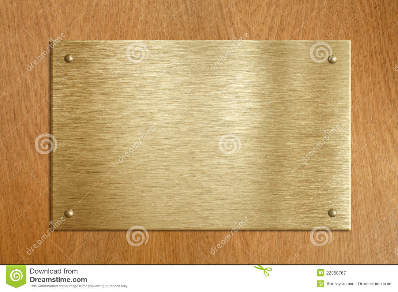 Wooden Plaque With Gold Or Brass Plate Stock Image Image