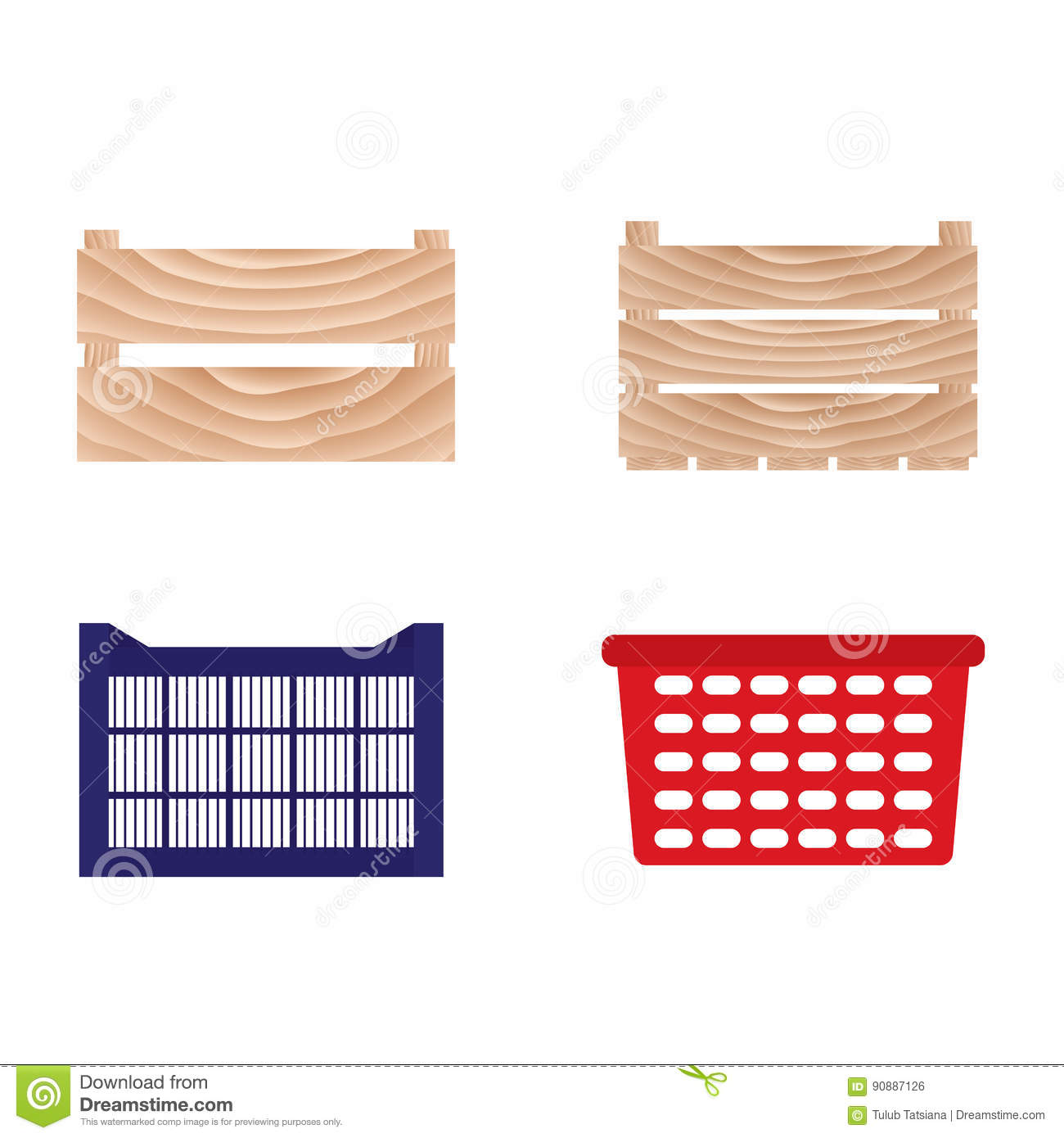 Wooden And Plastic Boxes For Vegetables And Fruits. Stock Vector