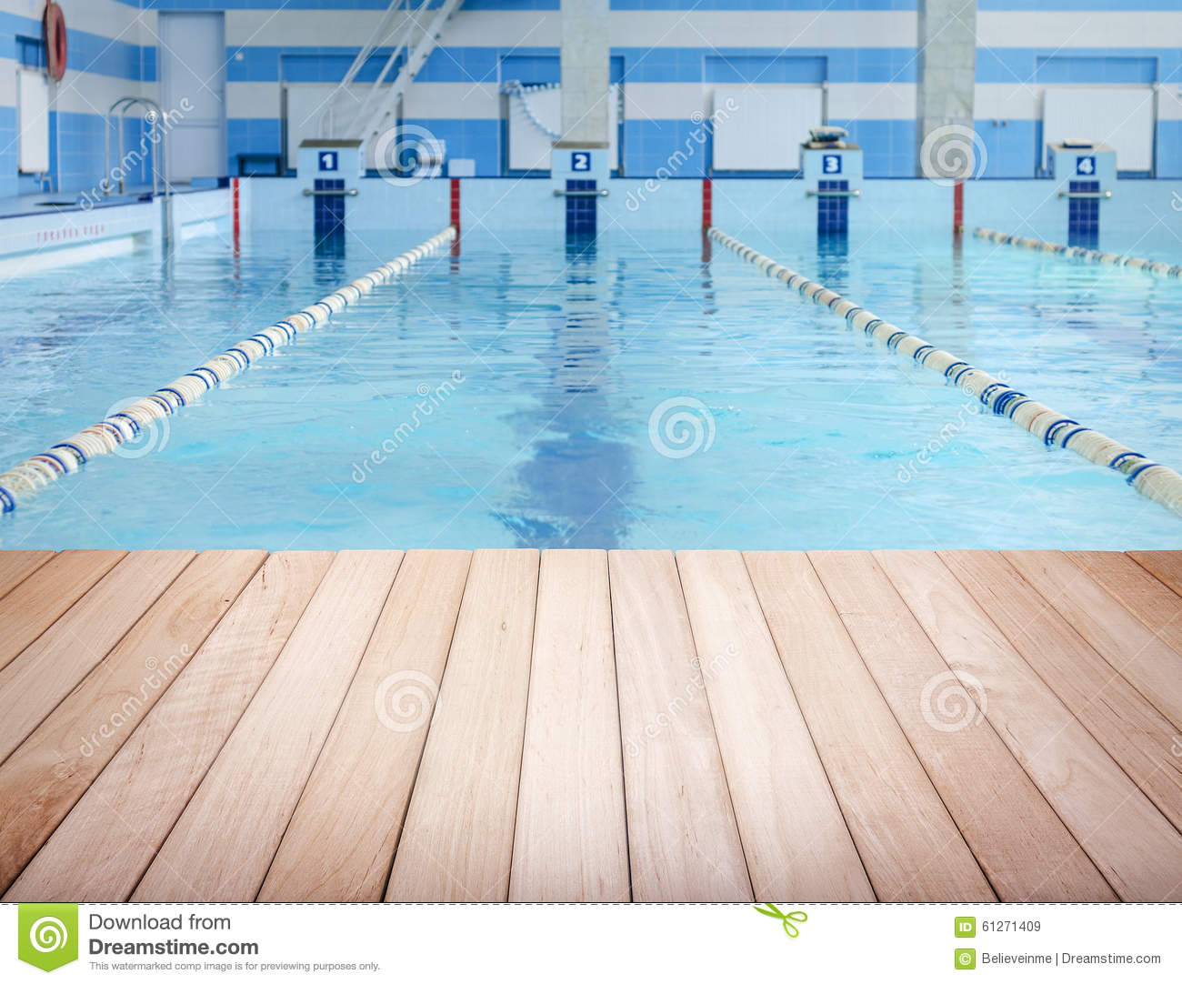 wooden platform and swimming pool stock photo
