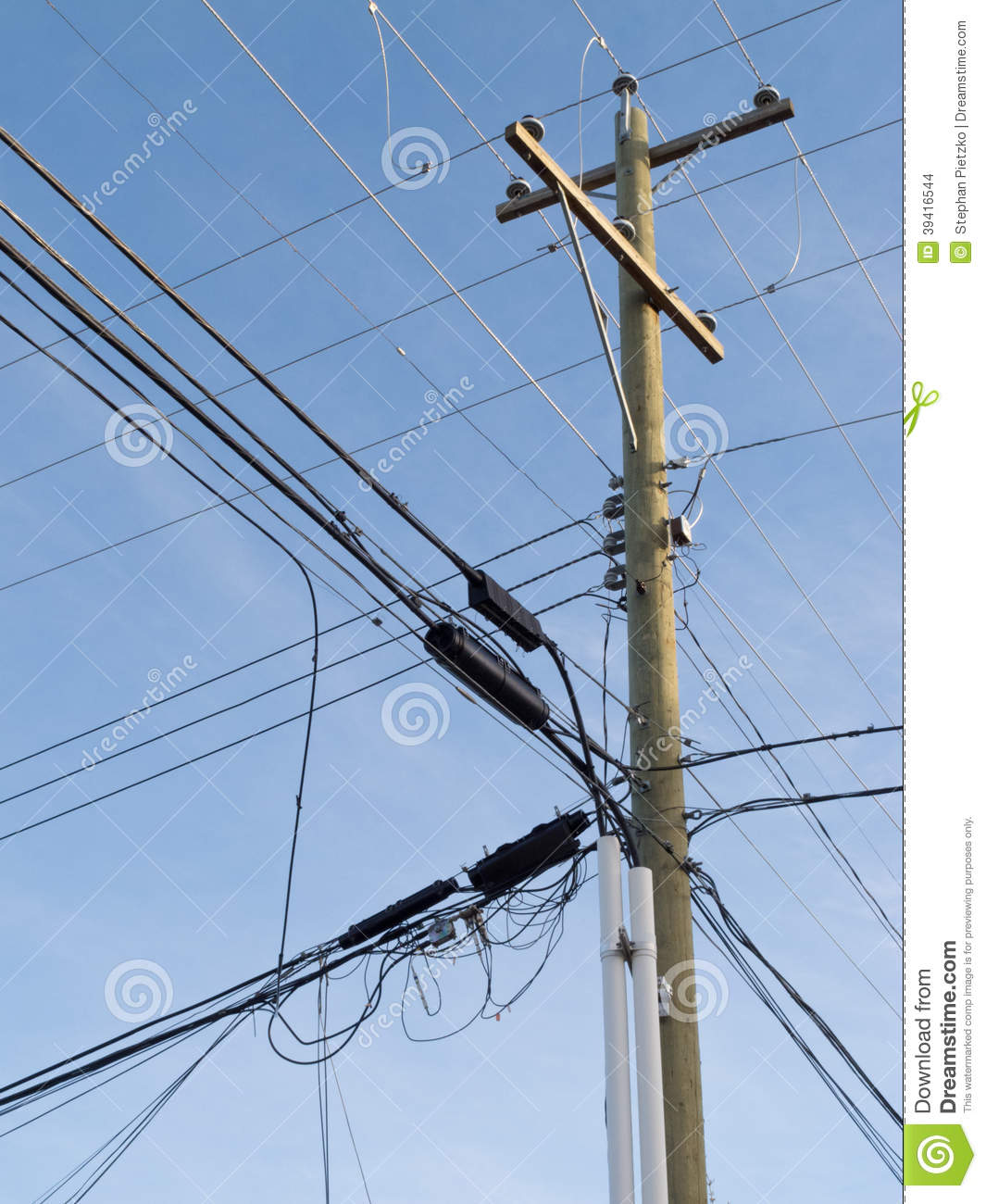 Electric Poles Power Lines : Wooden pole confusing power cable phone line mess stock