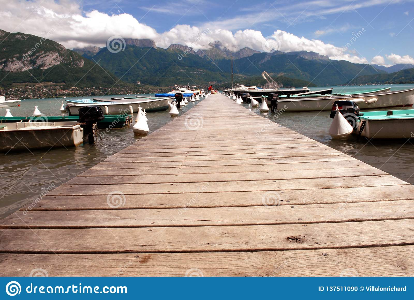 Wooden pontoon on Lake Annecy