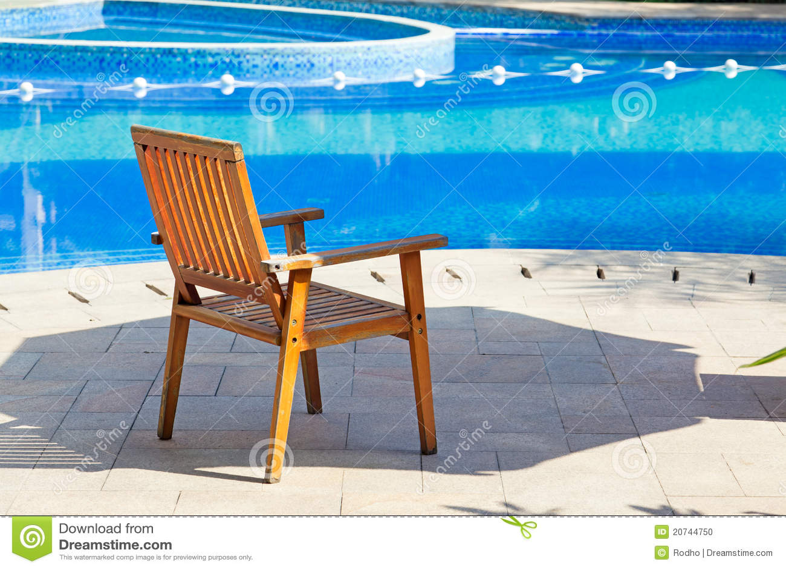 Wooden Pool Chair Stock PhotoImage 20744750