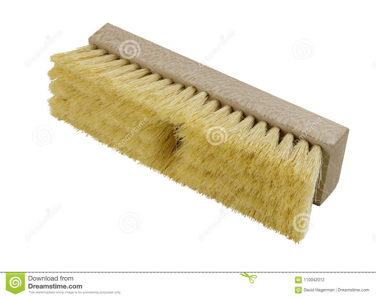 Wooden push broom head with yellow bristles