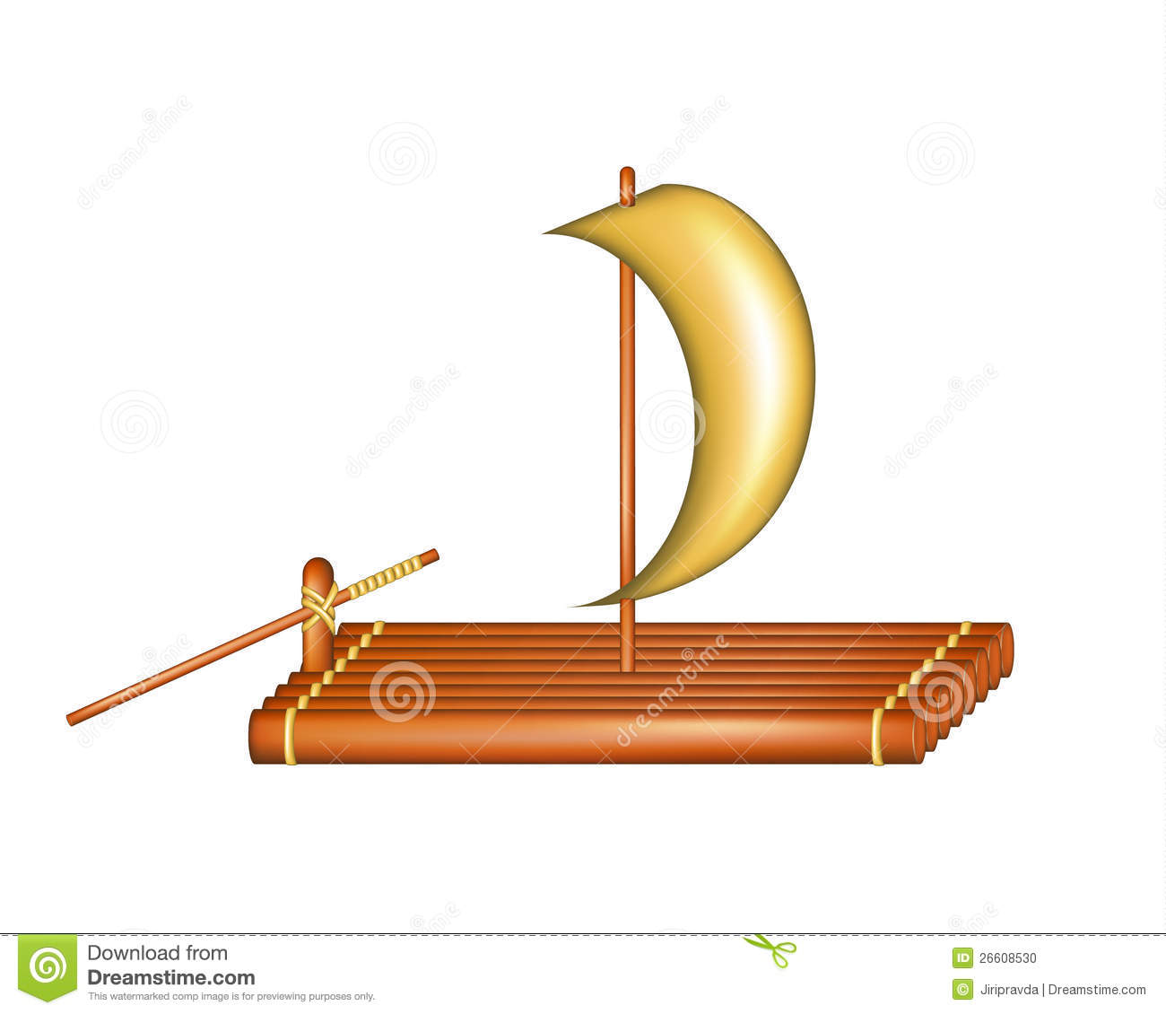 Wooden Raft With Sail Stock Vector Image Of Adventure