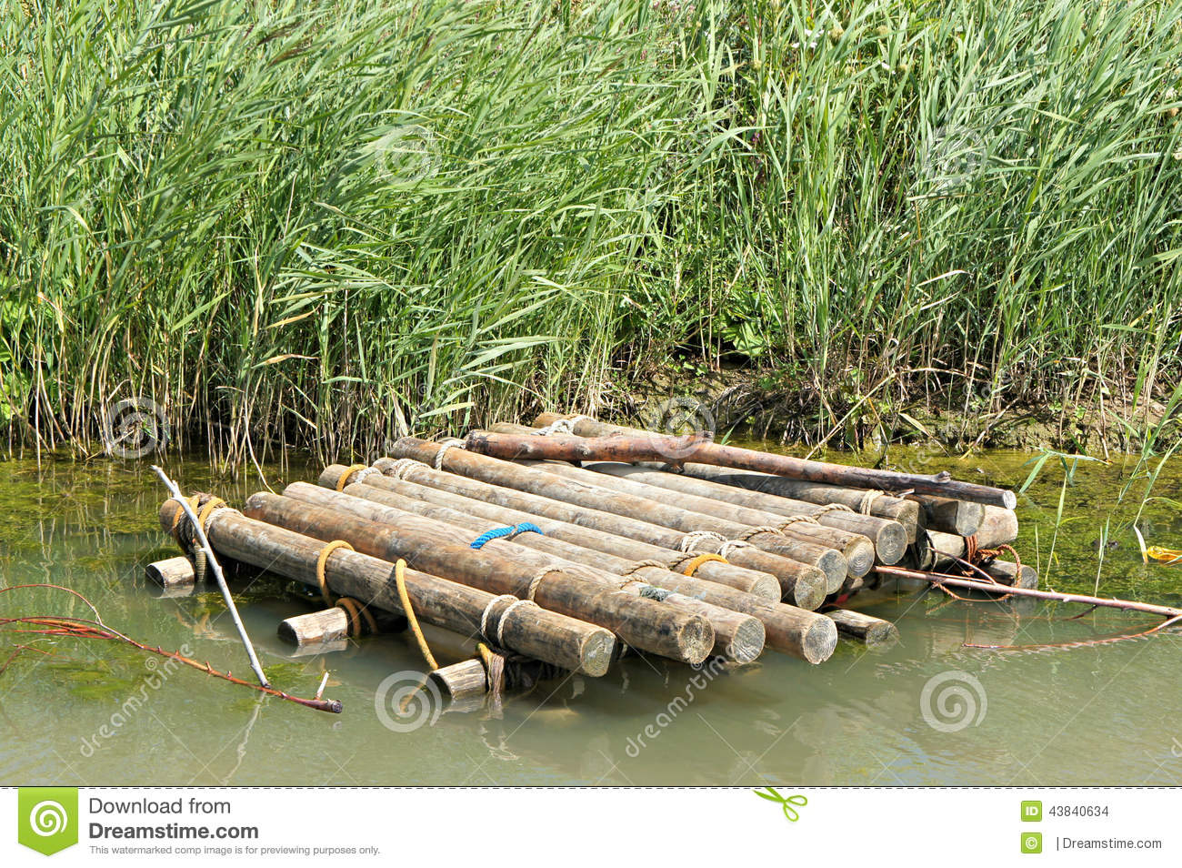 Wooden Raft In The Water Stock Photo Image 43840634