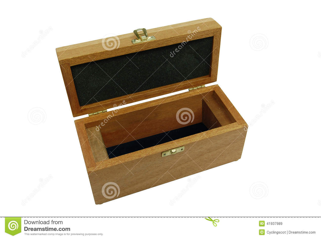 Wooden Rectangular Box With Lid Open Stock Image Image