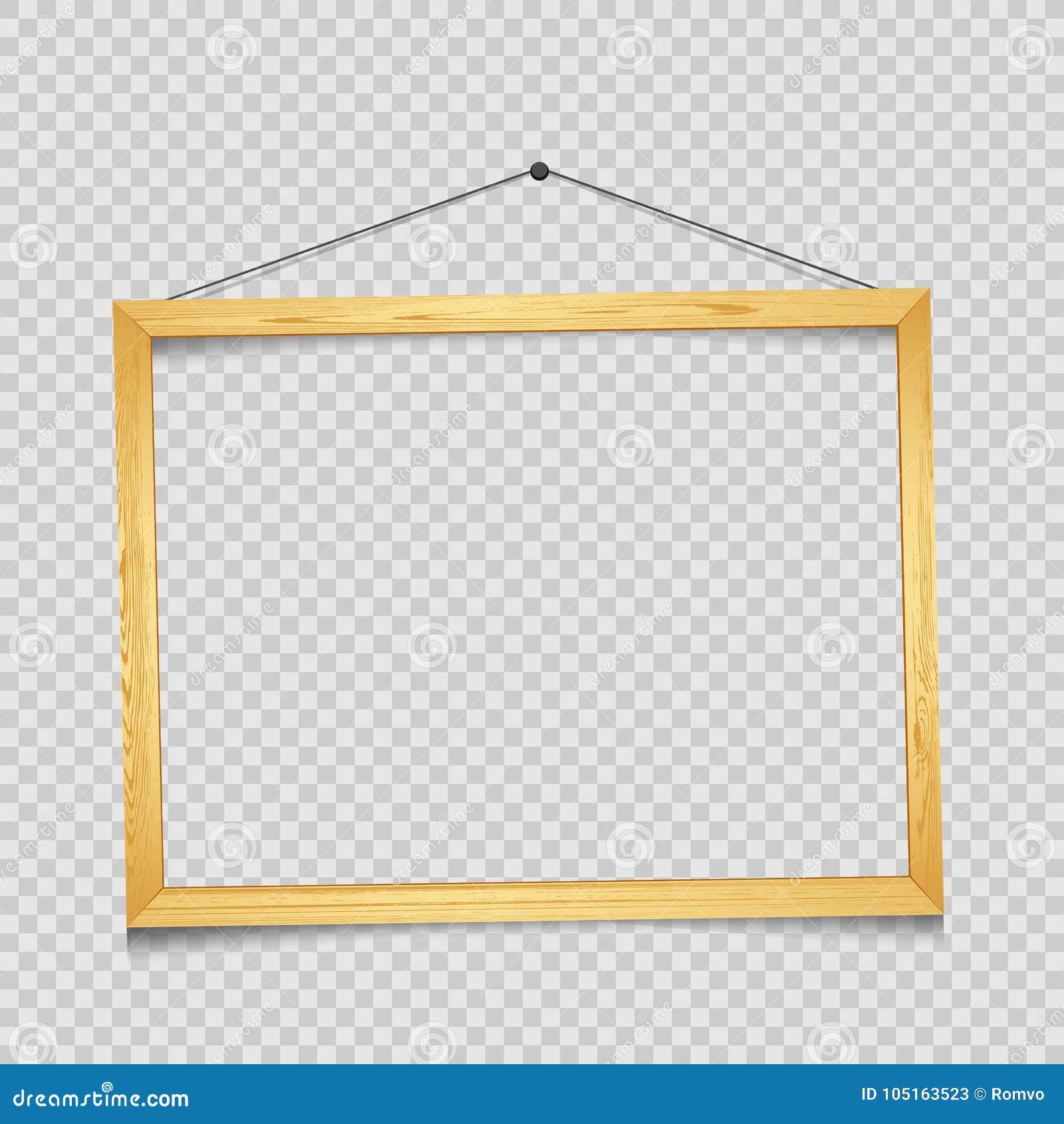Wooden Rectangular Frame Transparent Stock Vector