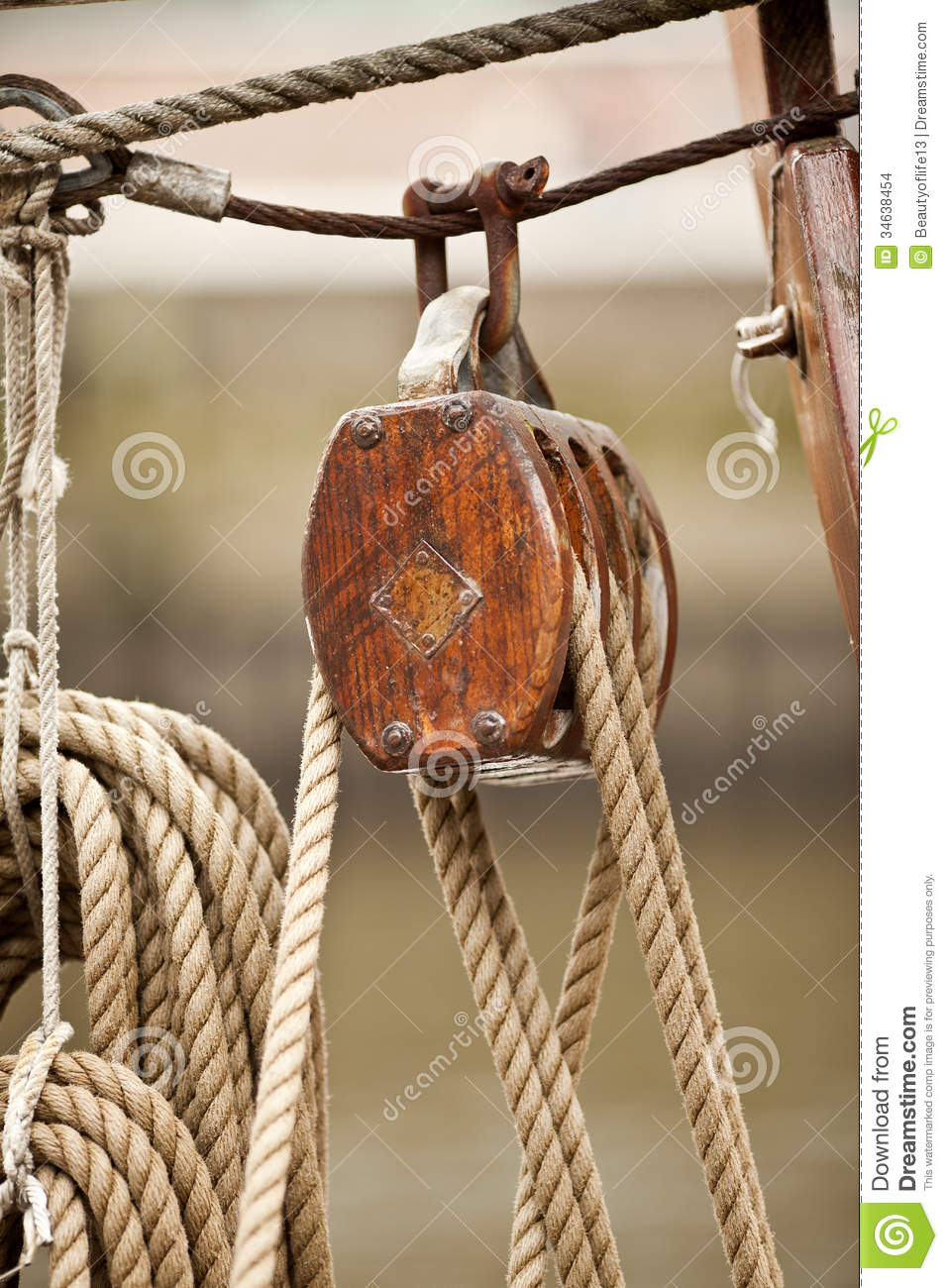Wooden Rigging Block stock photo. Image of classic, ropes ...