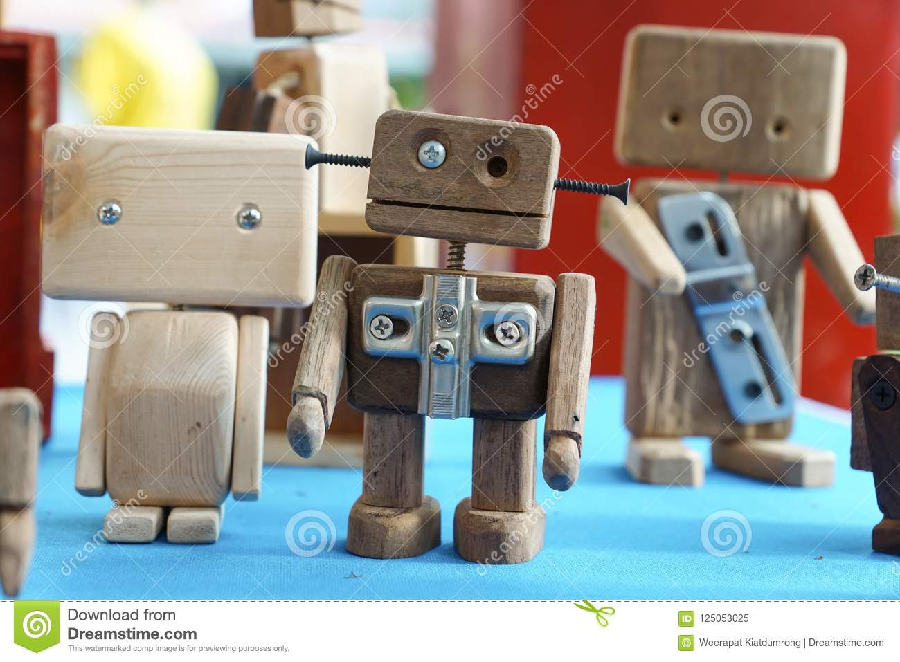 wooden robot toys stock image. image of toys, vintage