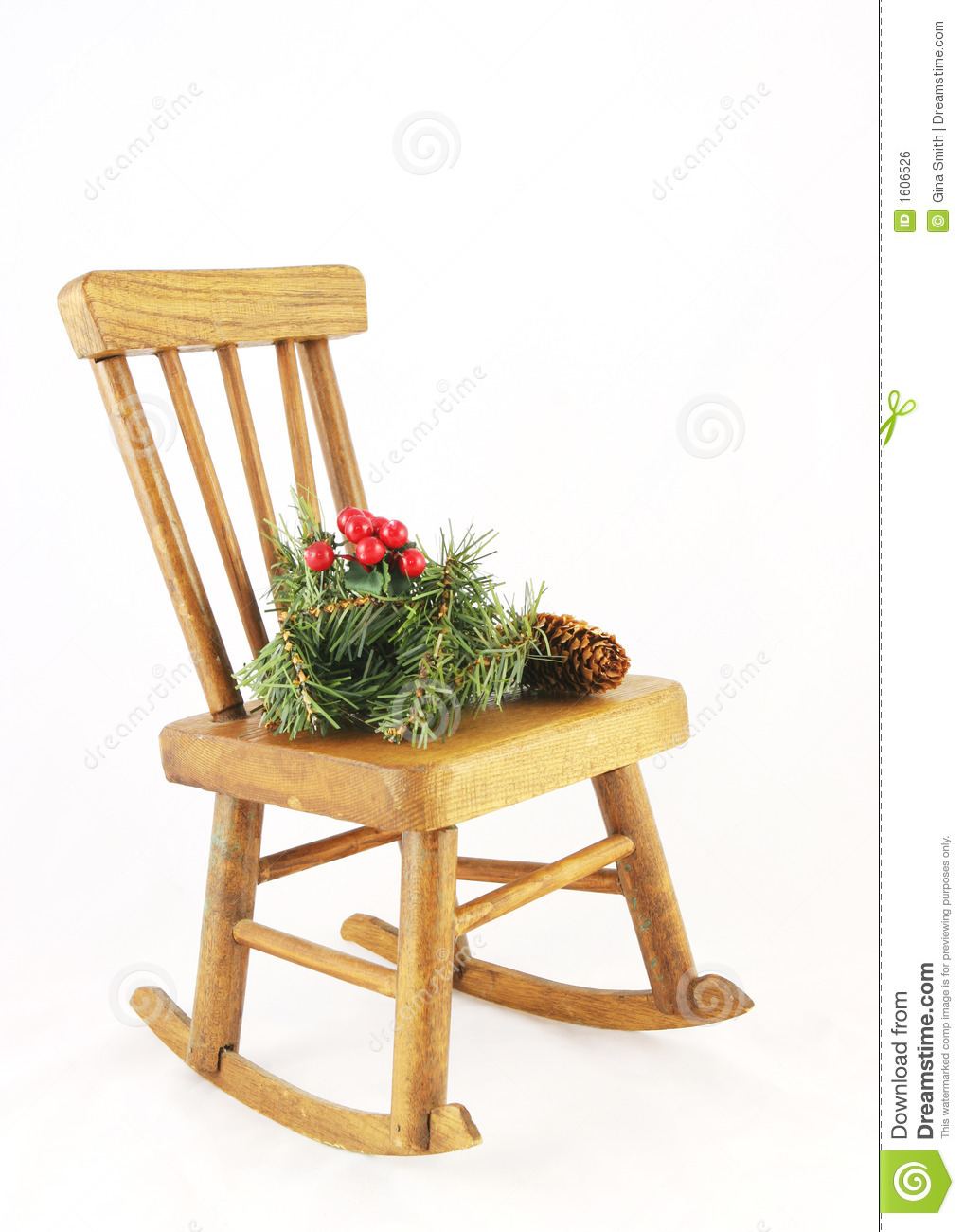 Wooden Rocking Chair With Christmas Decorations Royalty Free Stock ...