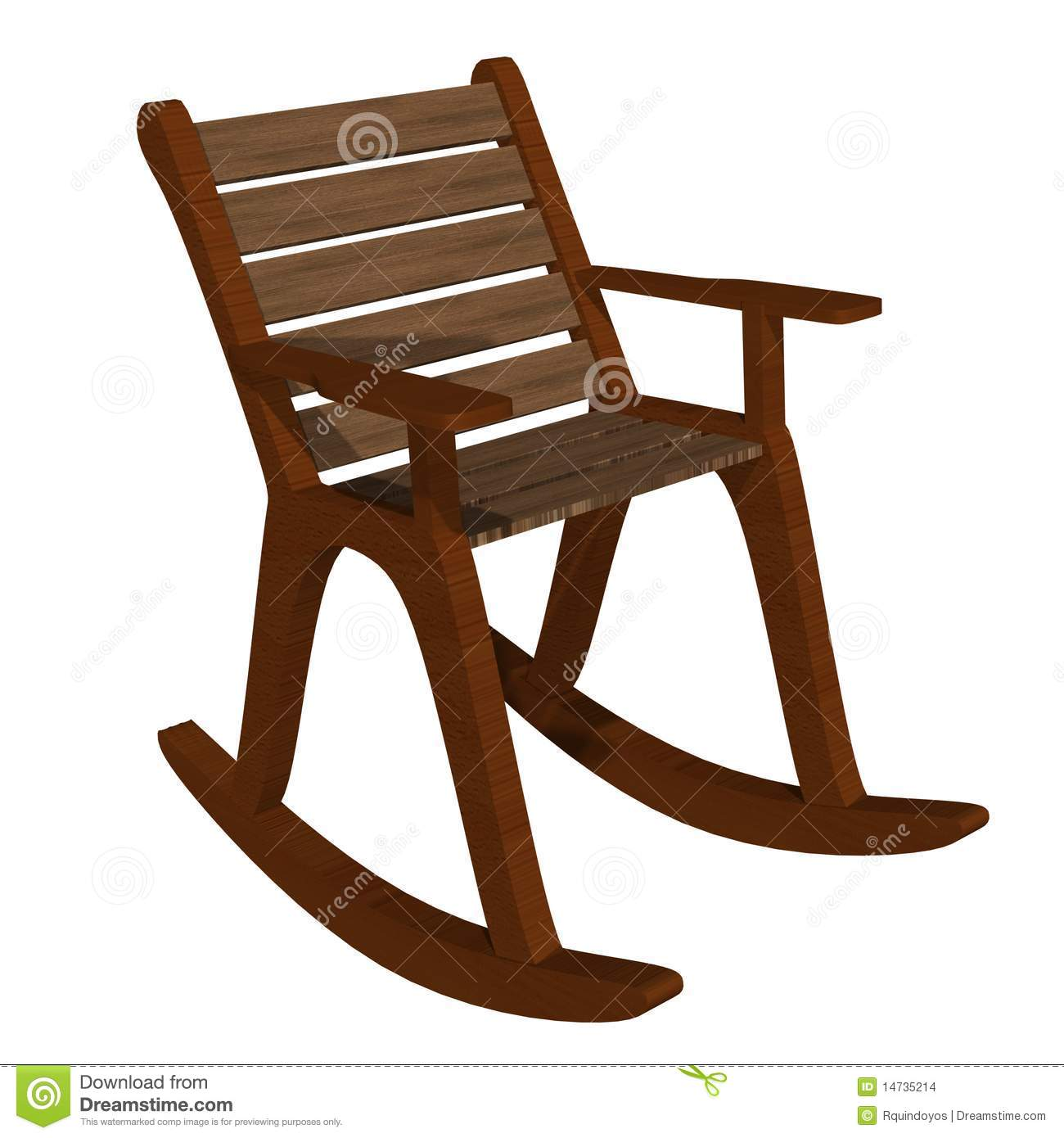 Wooden Rocking Chair Front-side View Stock Illustration ...