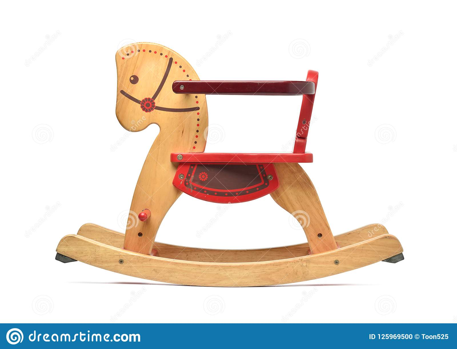 Wooden Rocking Horse With Color Paint Isolated On White Stock Photo Image Of Craft Design 125969500