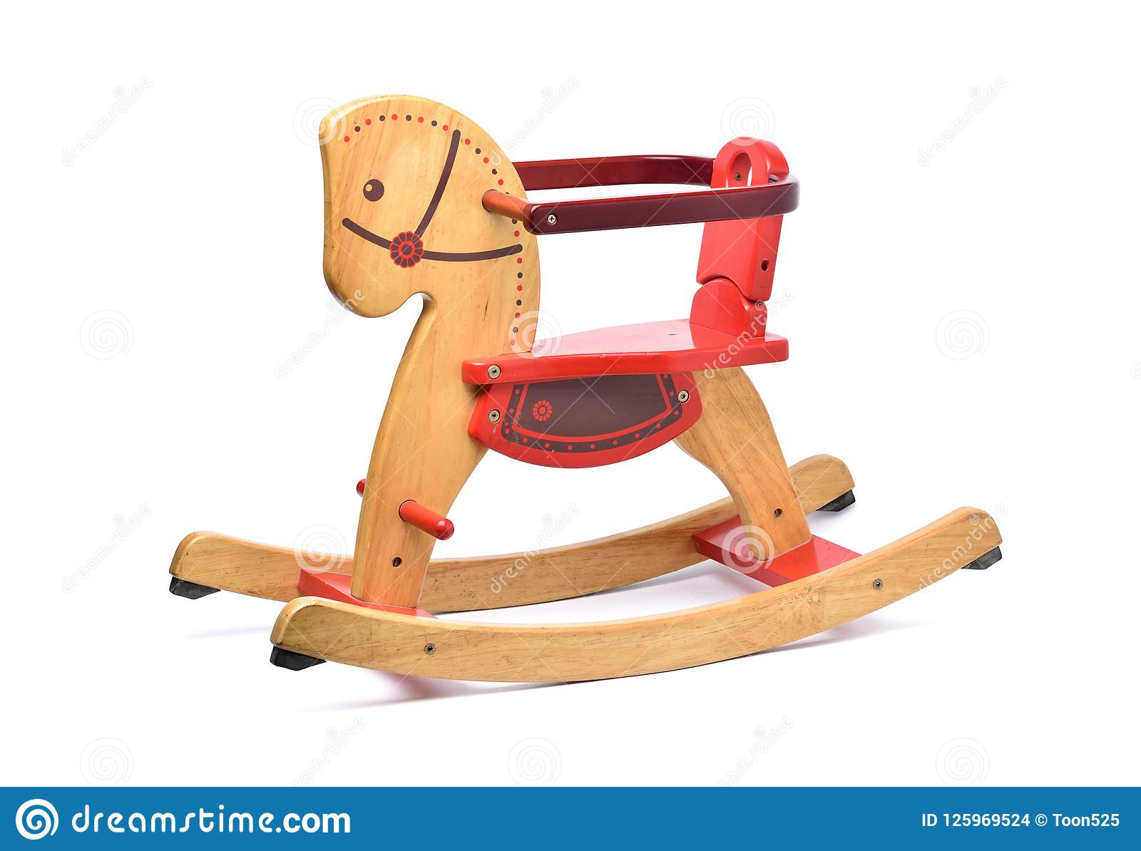 Wooden Rocking Horse With Color Paint Isolated On White Stock Photo Image Of Decoration Play 125969524