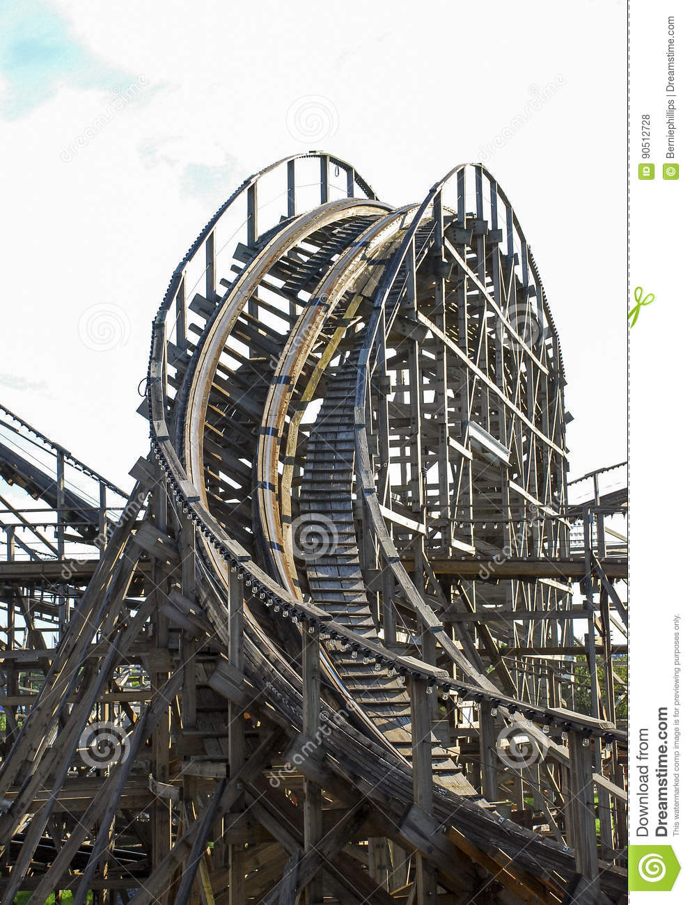 Wooden Roller Coaster Descent Stock Photo - Image of wood ...