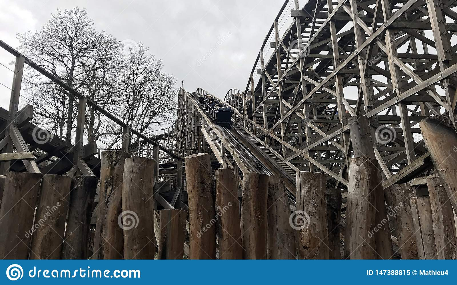 Wooden Rollercoaster Track Joris And The Dragon In Amusement Park