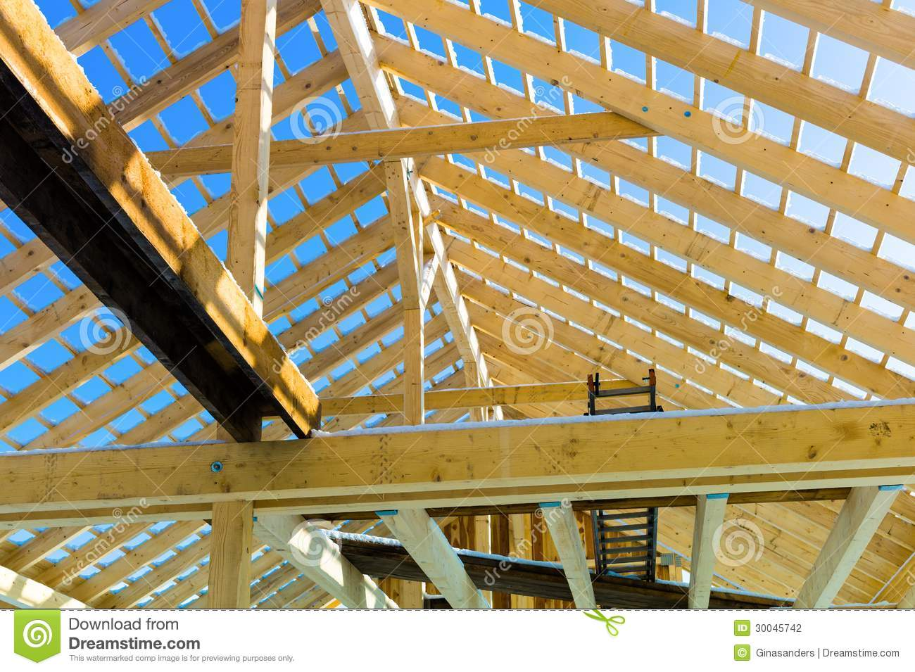 Wooden Roof Construction Stock Photo Image Of Carpenter