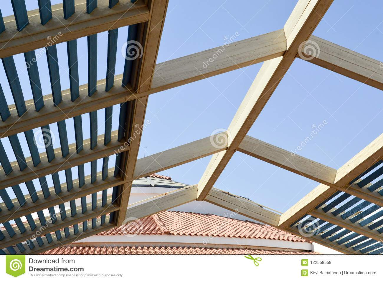 A Wooden Roof Is Modern From The Sun With Boards With Beams And
