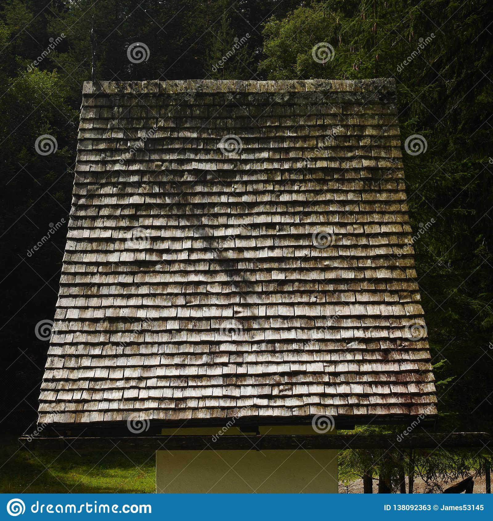 Wooden Roof of Small Church / Shrine in Austria