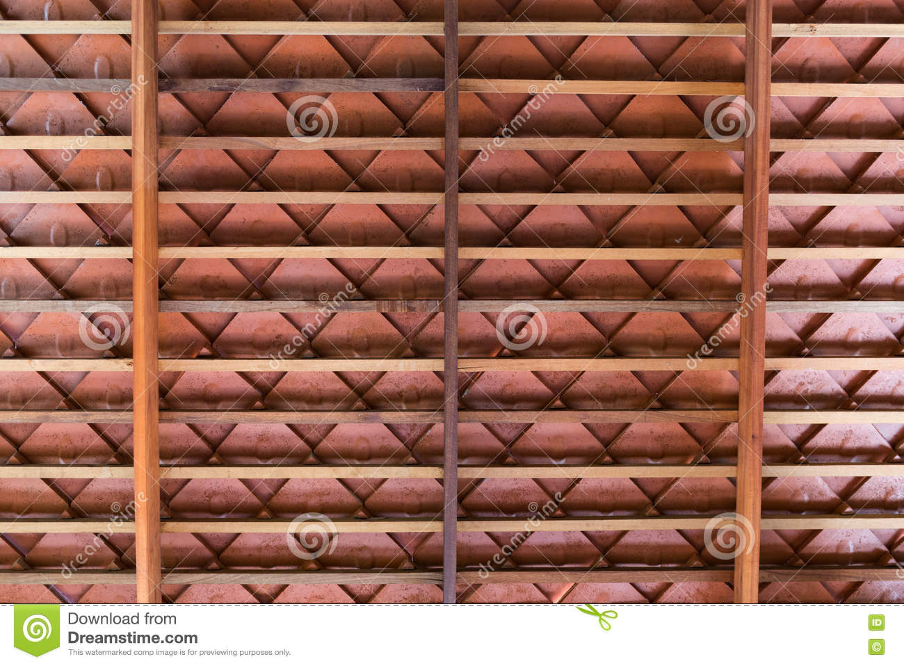 Terracotta roof tiles floor and decorations images floor and wooden roof structure with terracotta roof tiles stock image image wooden roof structure with terracotta roof dailygadgetfo Image collections