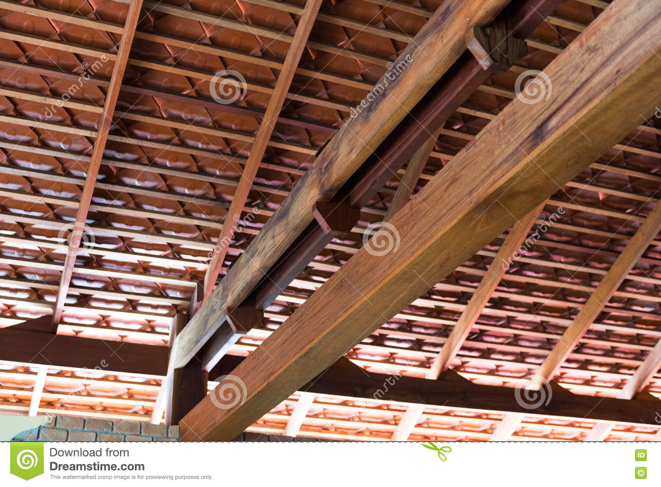 roof structure style terracotta ... & Wooden Roof Structure With Terracotta Roof Tiles Stock Photo ... memphite.com
