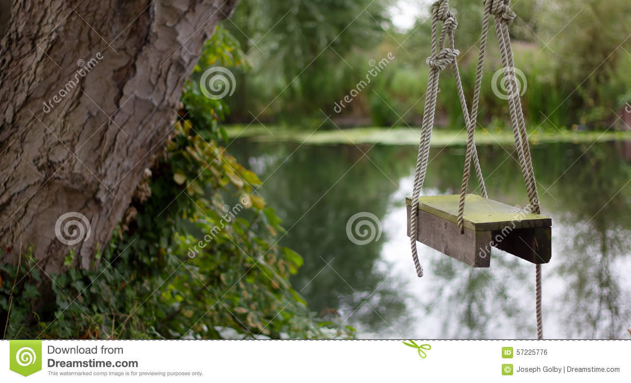 Wooden Rope Swing By River Stock Photo Image Of Family 57225776