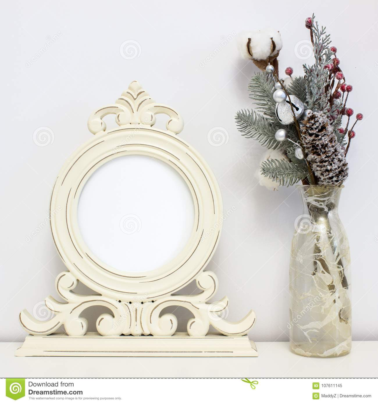 Wooden round frame and winter decorations. White clear Mock-up for art work presentations