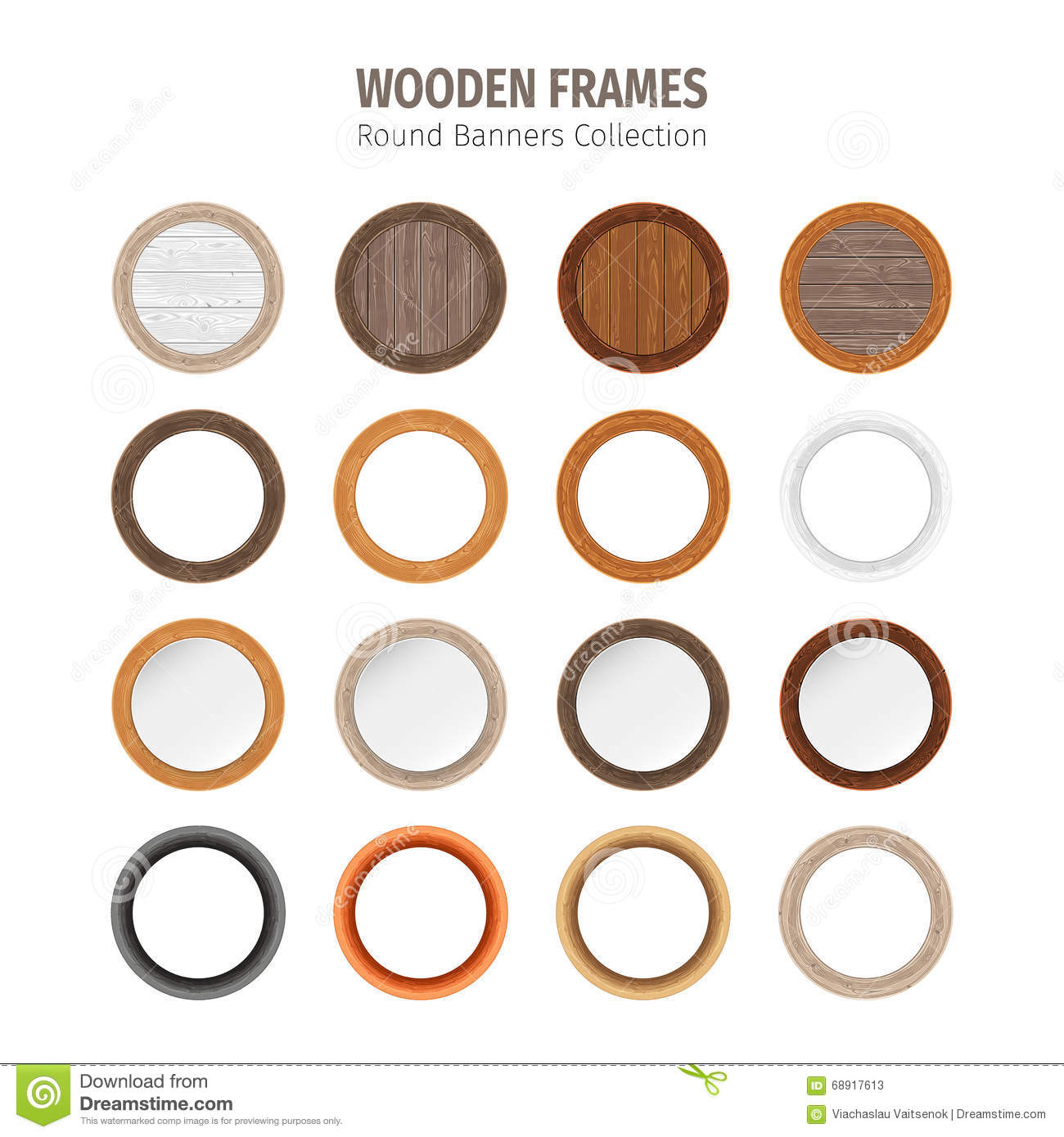 Wood frames set free vector - Royalty Free Vector Collection Panel Pattern Round Set Wooden