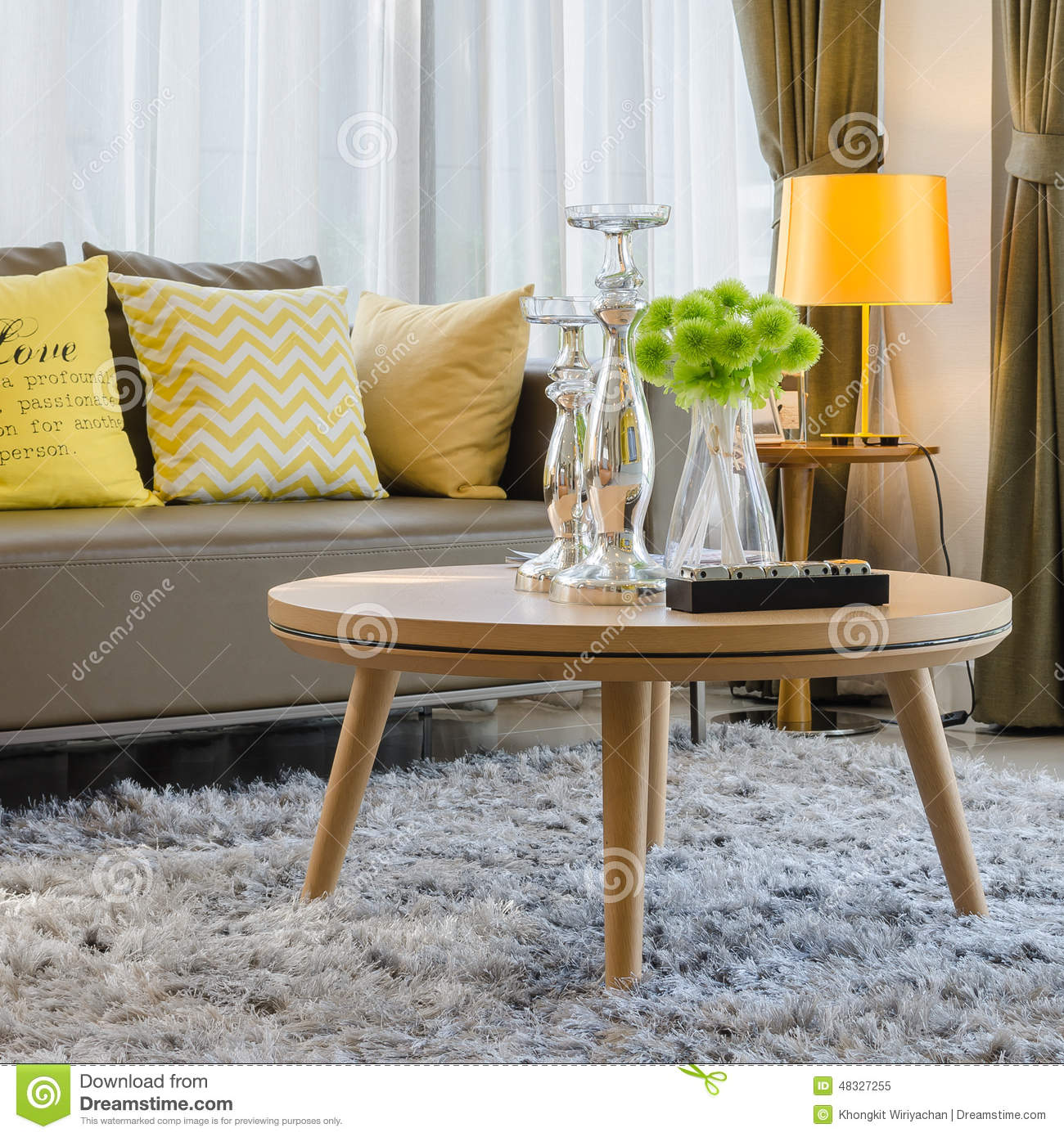 Royalty Free Stock Photo. Download Wooden Round Table On Carpet In Living  Room ...