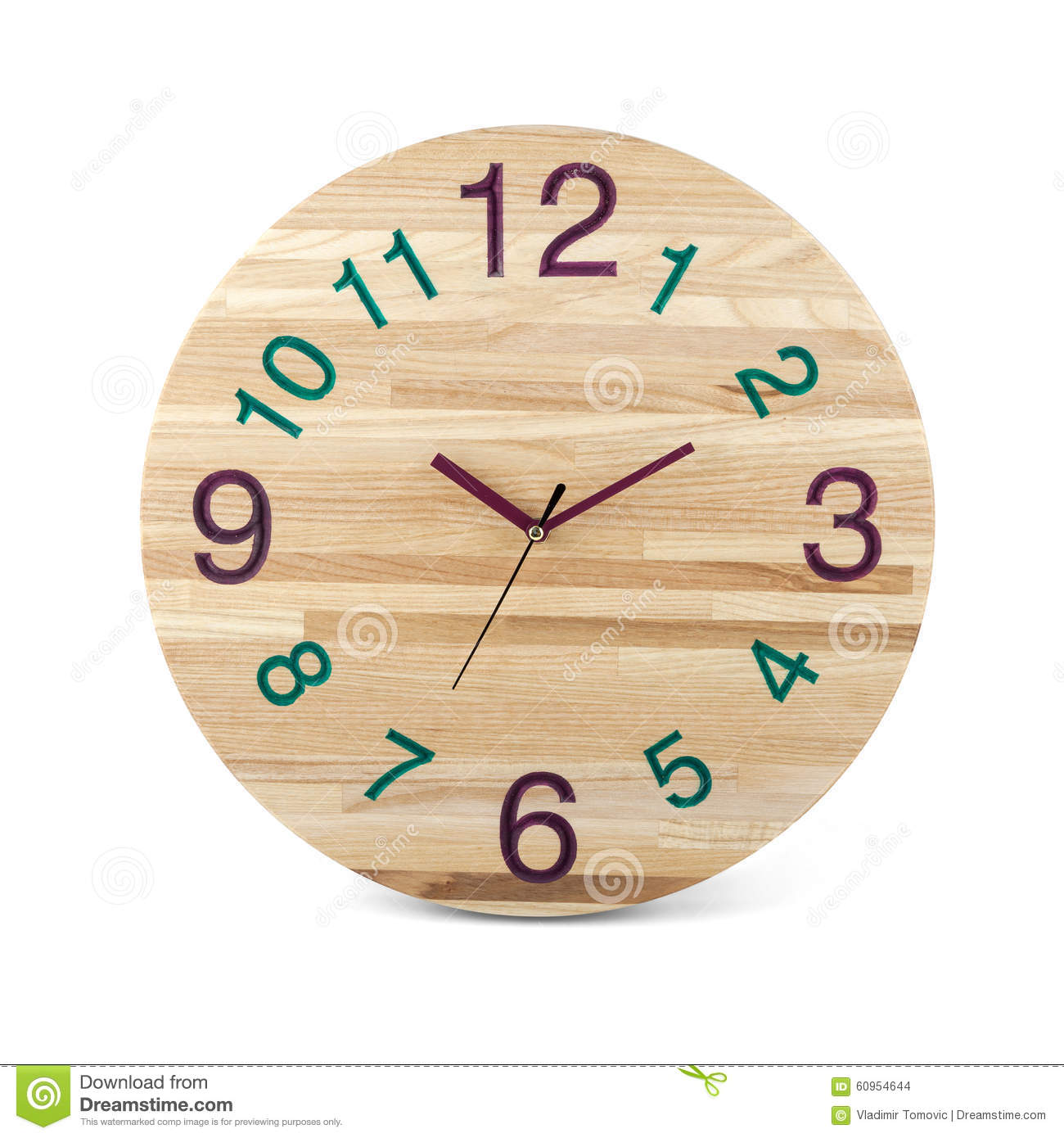 Wooden round wall watch clock isolated on white background stock wooden round wall watch clock isolated on white background amipublicfo Choice Image
