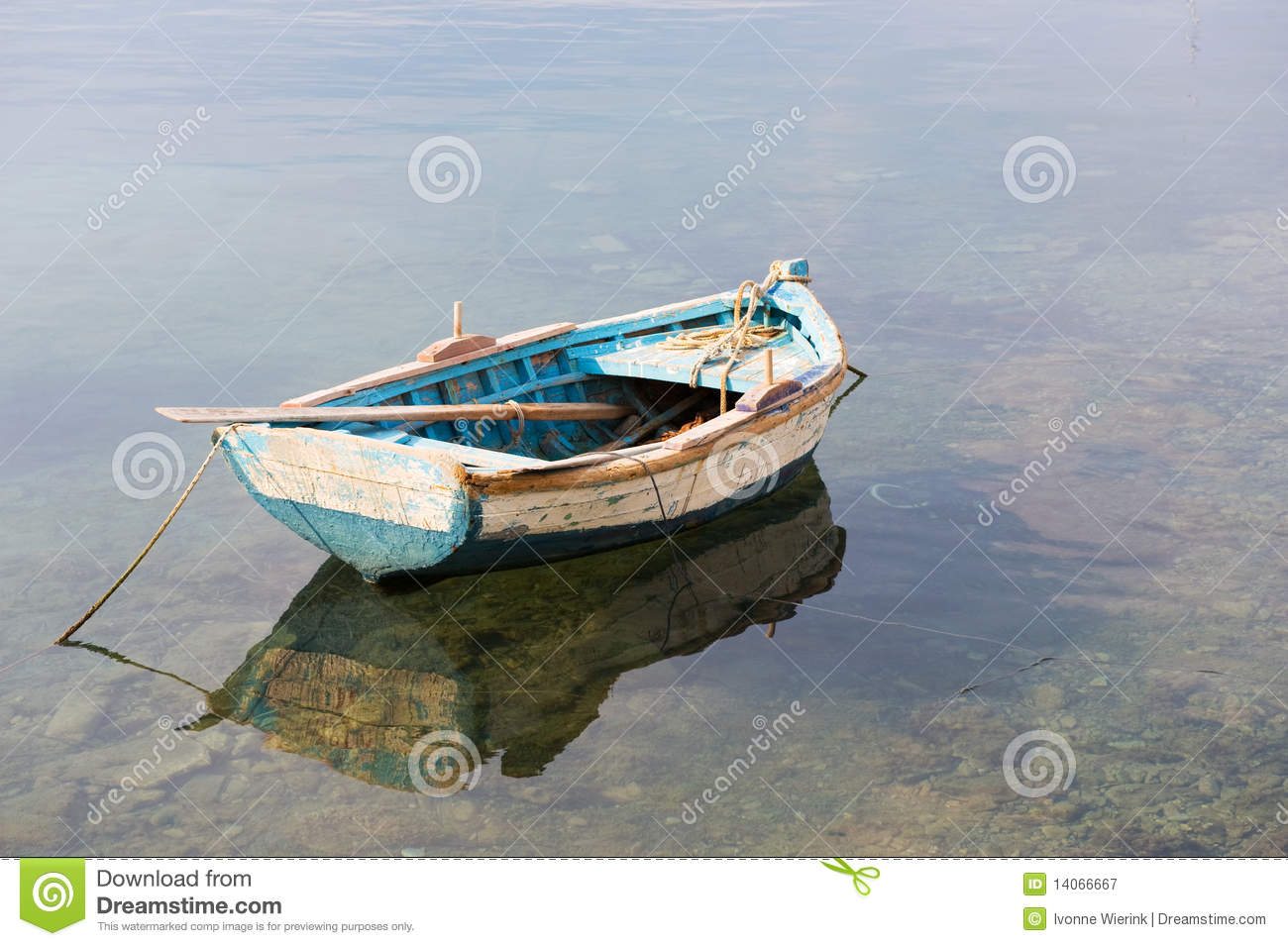 Wooden row boat stock image. Image of water, rope, greece - 14066667
