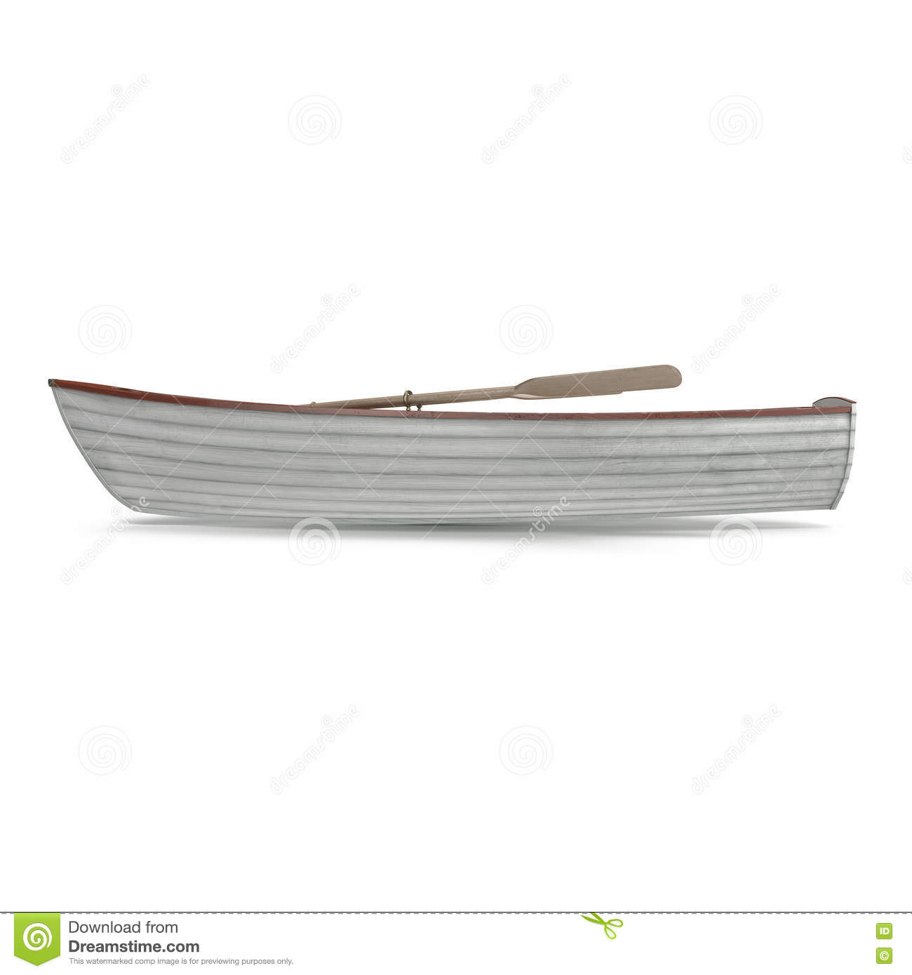 Wooden Row Boat On White. Top View. 3D Illustration Stock Illustration - Image: 79312735